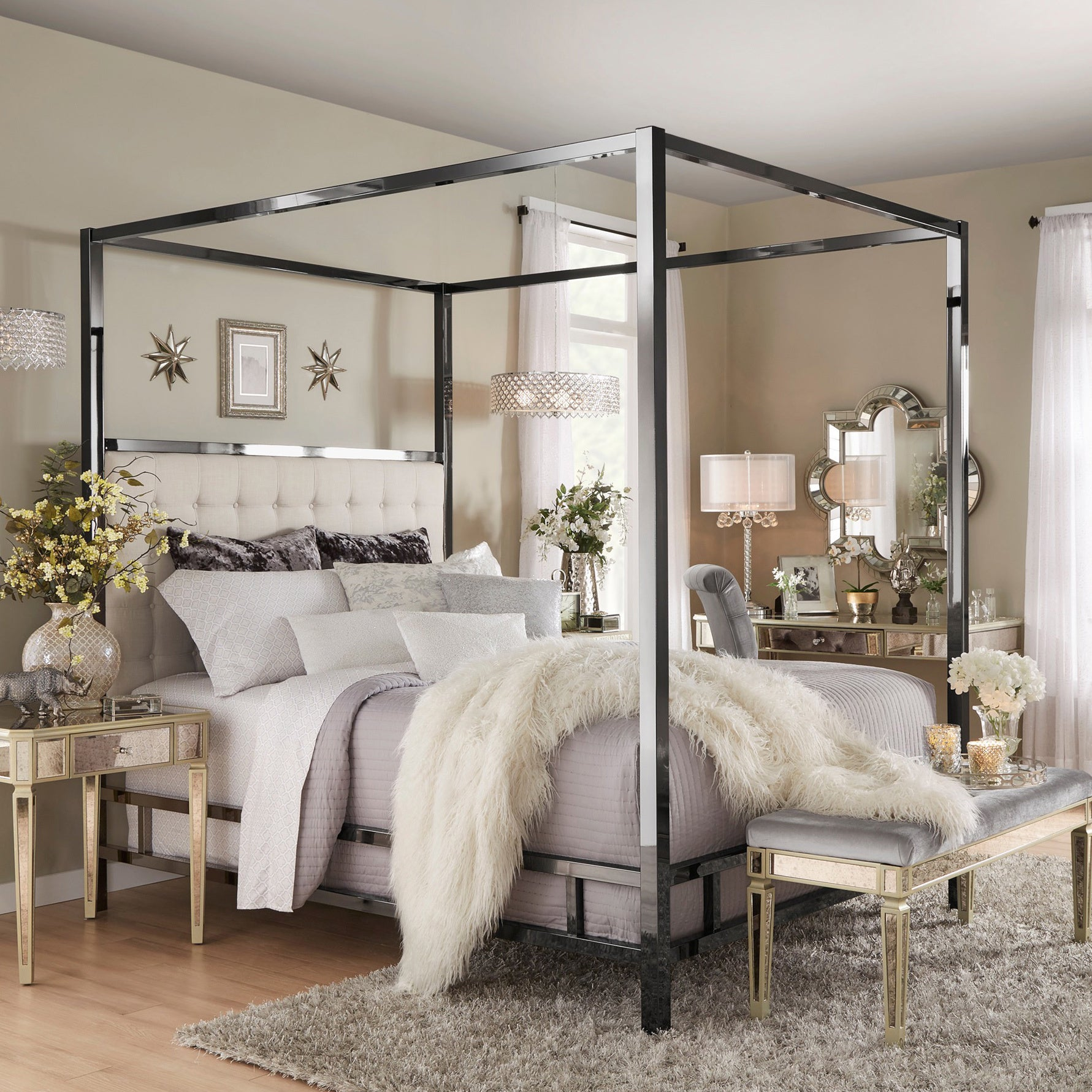Shop Solivita Black Nickel Metal Queen Size Canopy Poster Bed By INSPIRE Q Bold