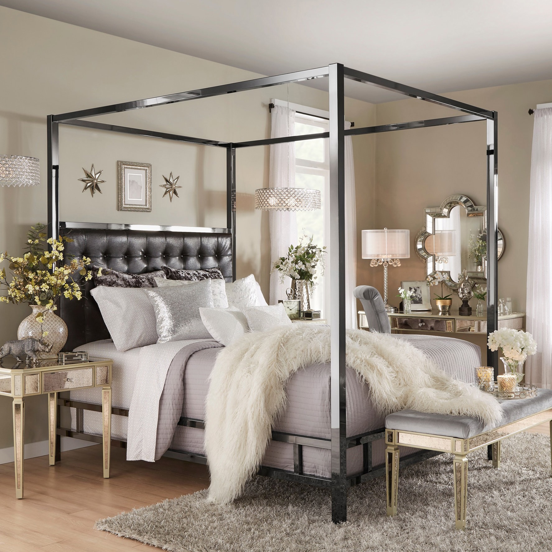 Solivita Black Nickel Metal Queen-size Canopy Poster Bed by iNSPIRE Q Bold  - Free Shipping Today - Overstock.com - 20696573
