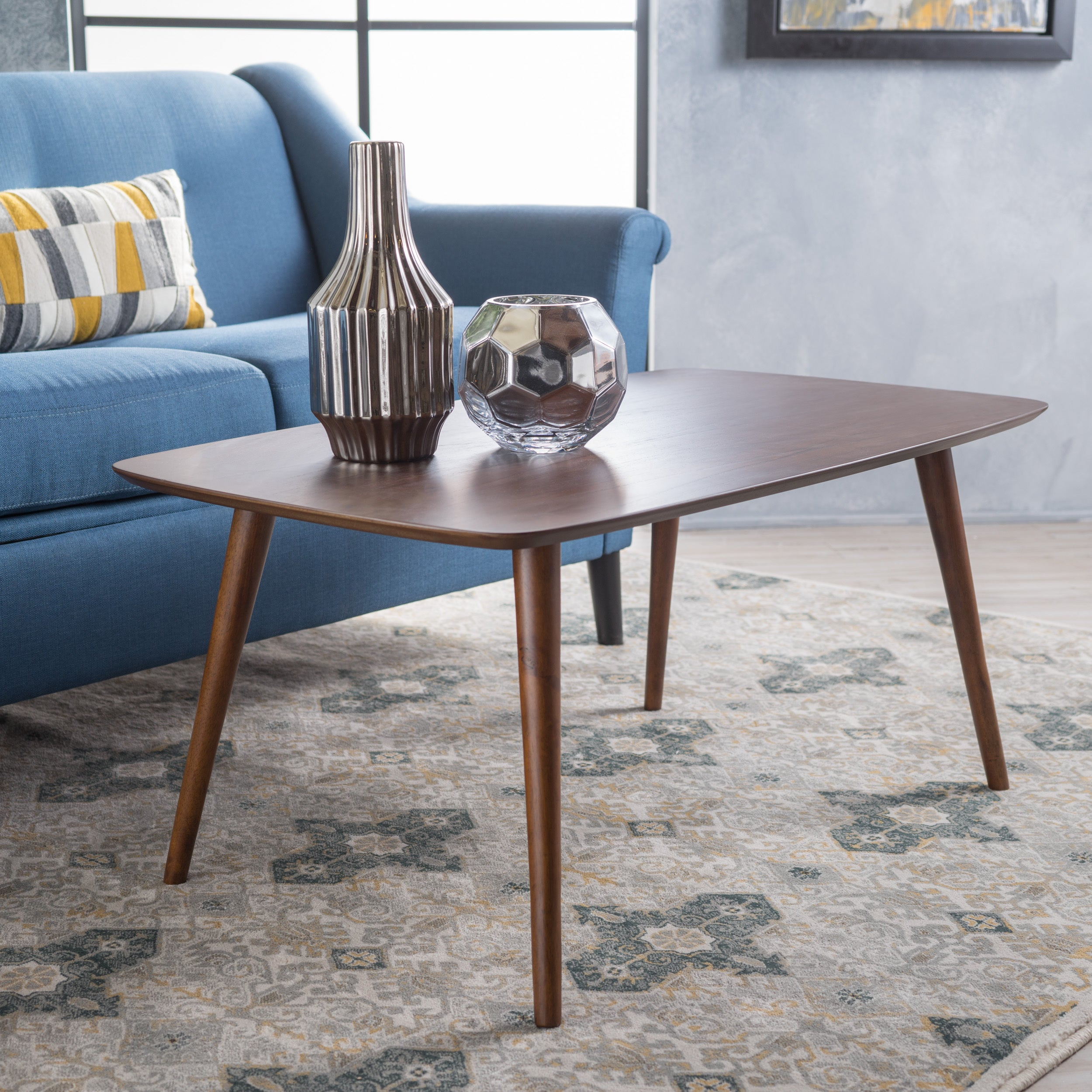 Shop Cilla Mid Century Wood Rectangle Coffee Table By Christopher Knight  Home   On Sale   Free Shipping Today   Overstock.com   14086717