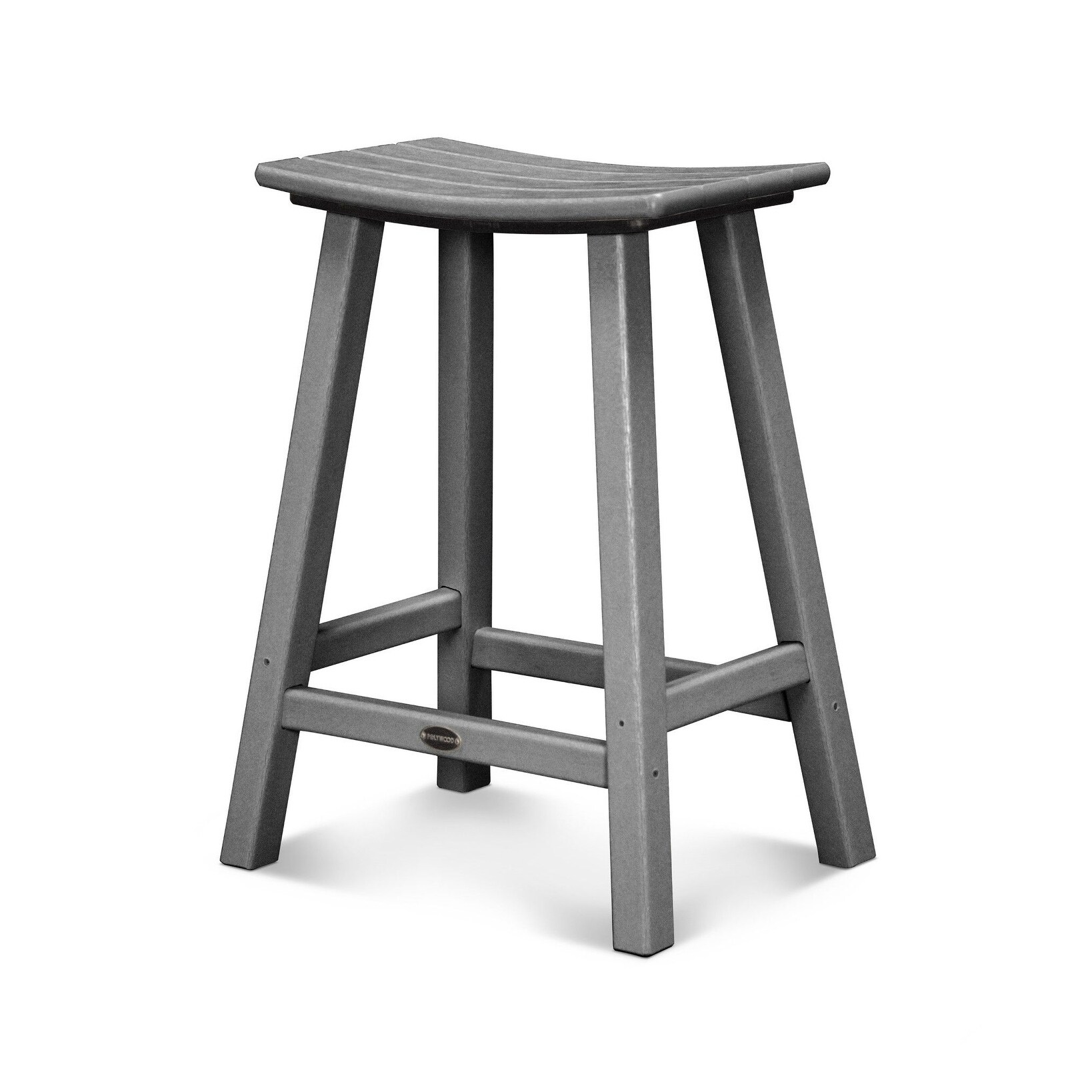 Shop Polywood Traditional 24 Inch Outdoor Saddle Bar Stool Free
