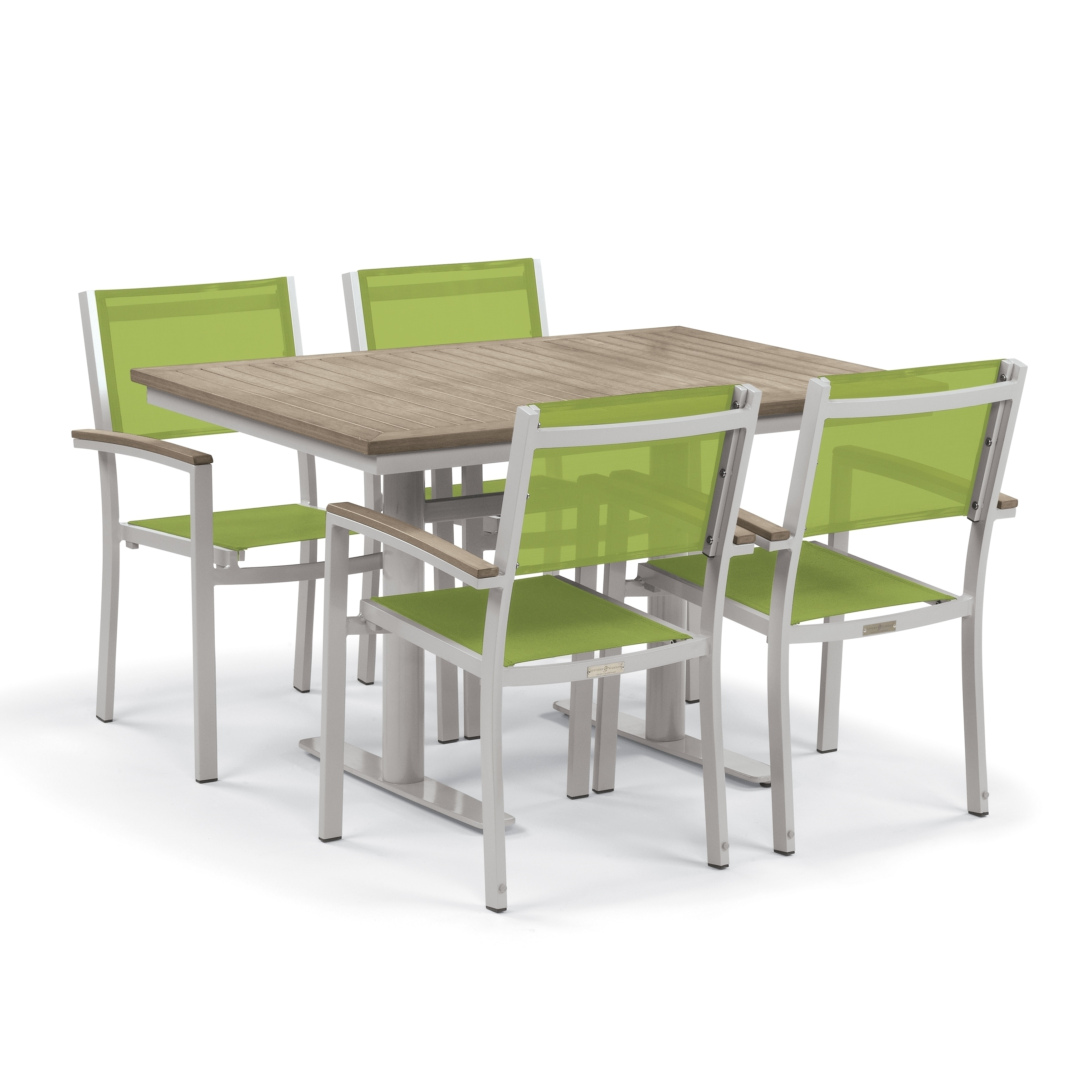 Shop oxford garden travira 5 piece bistro set with 34 inch x 48 inch vintage tekwood table powder coated steel go green sling free shipping today