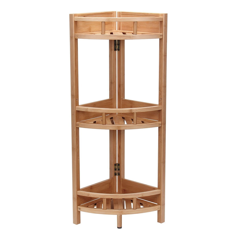 Shop Bamboo 3 Tier Corner Storage Shelf   Free Shipping Today    Overstock.com   14094814