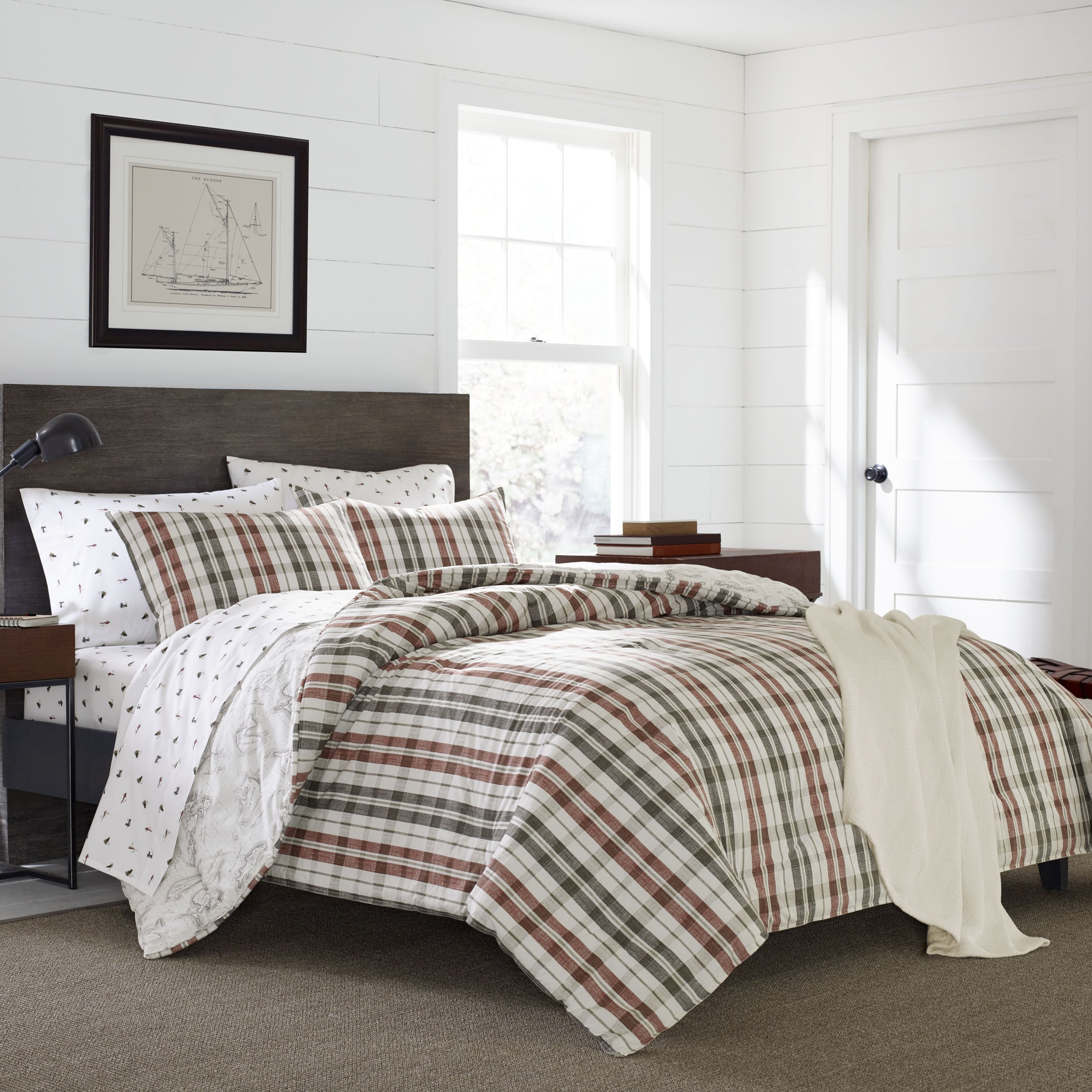 Ed Bauer Point Permit Plaid Cotton 3 Piece Duvet Cover Set Free