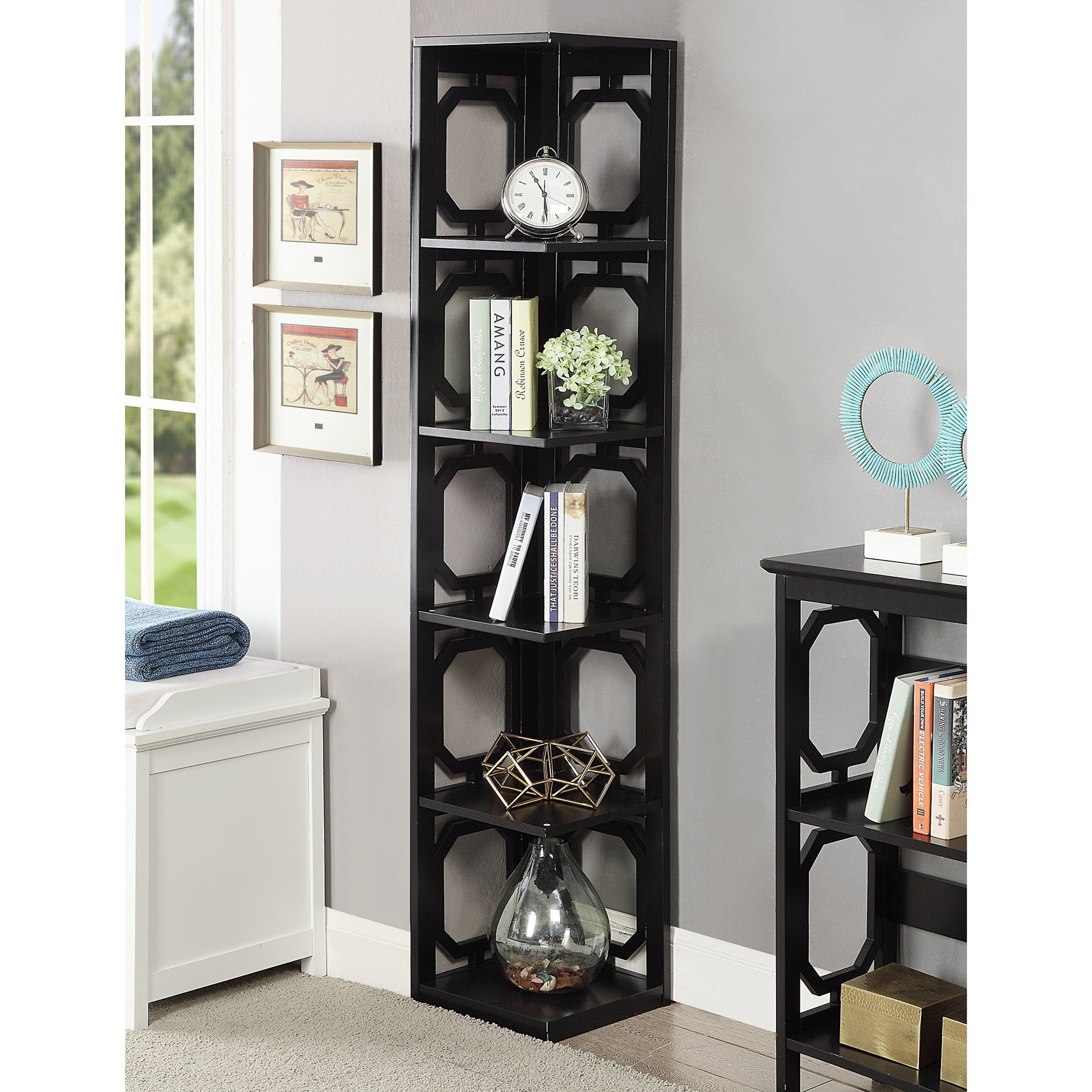 Porch & Den Bywater Lesseps 5 Tier Corner Bookcase  Free