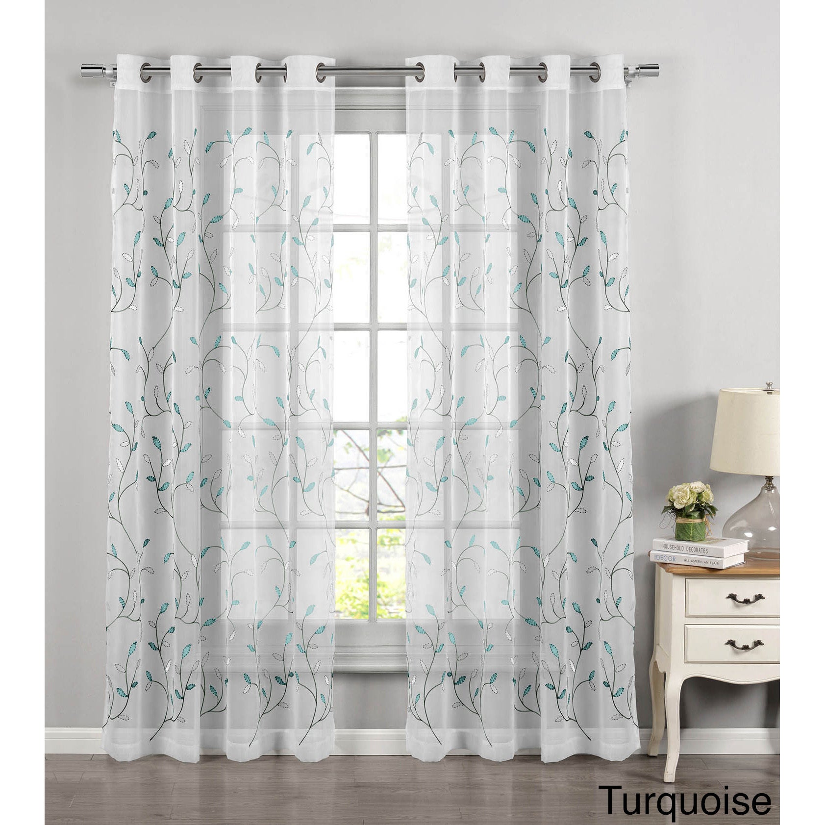Window Elements Wavy Leaves 54 Inch X 84 Inch Embroidered Sheer Extra Wide