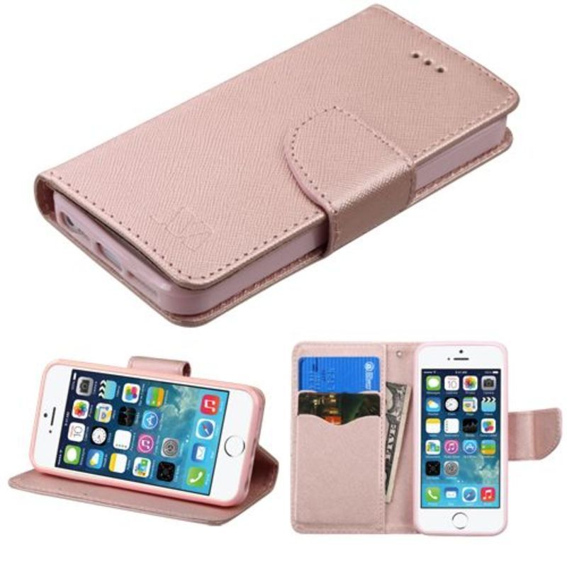 INSTEN Rose Gold Synthetic Leather Case Cover with Stand  Wallet Flap Pouch  For Apple iPhone 5  5S  SE 11d50f6c52