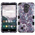 Insten Purple/ White European Flowers Tuff Hard PC/ Silicone Dual Layer Hybrid Rubberized Matte Case Cover For LG Stylo 2 Plus