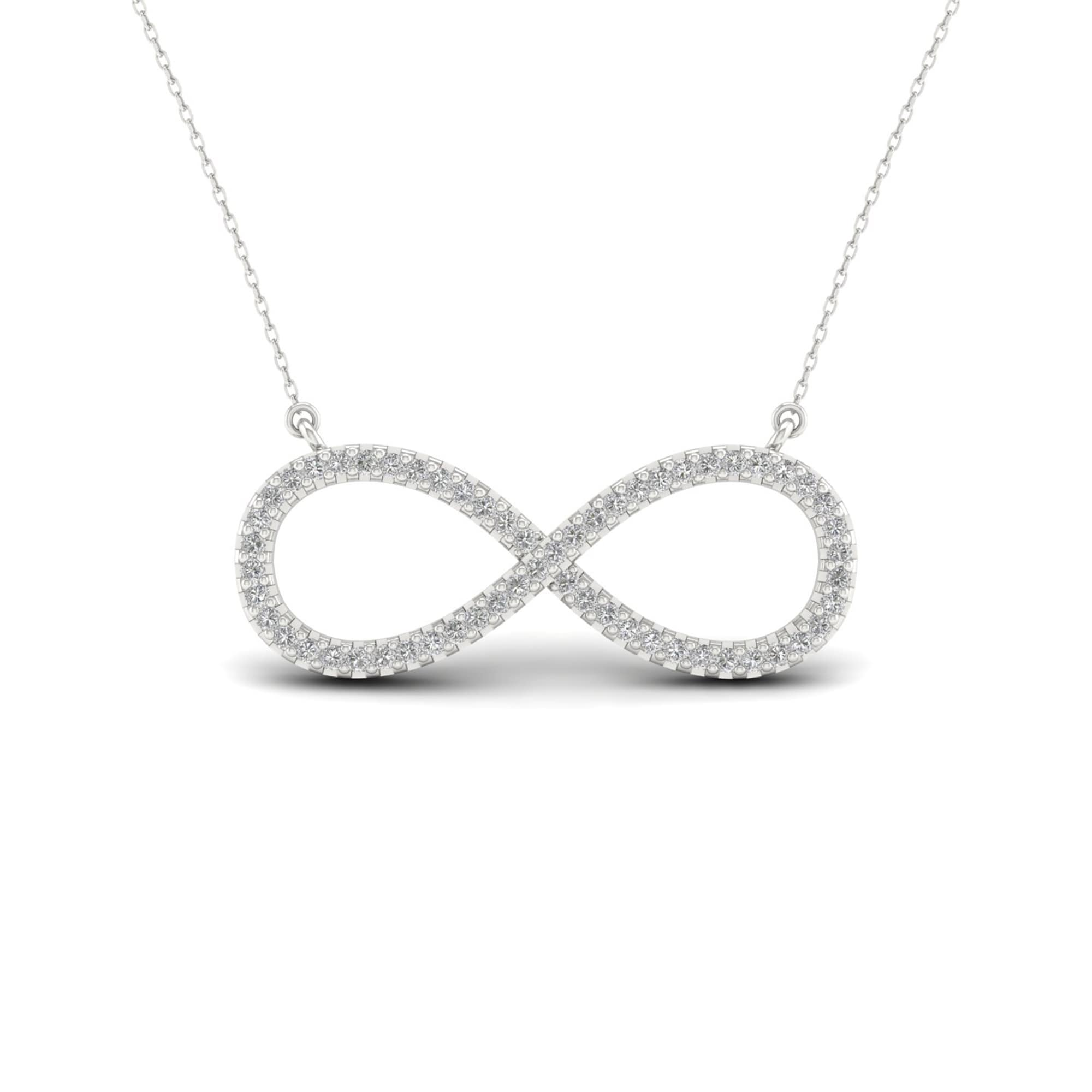 plated new necklace news infinity rhodium silver long in sterling