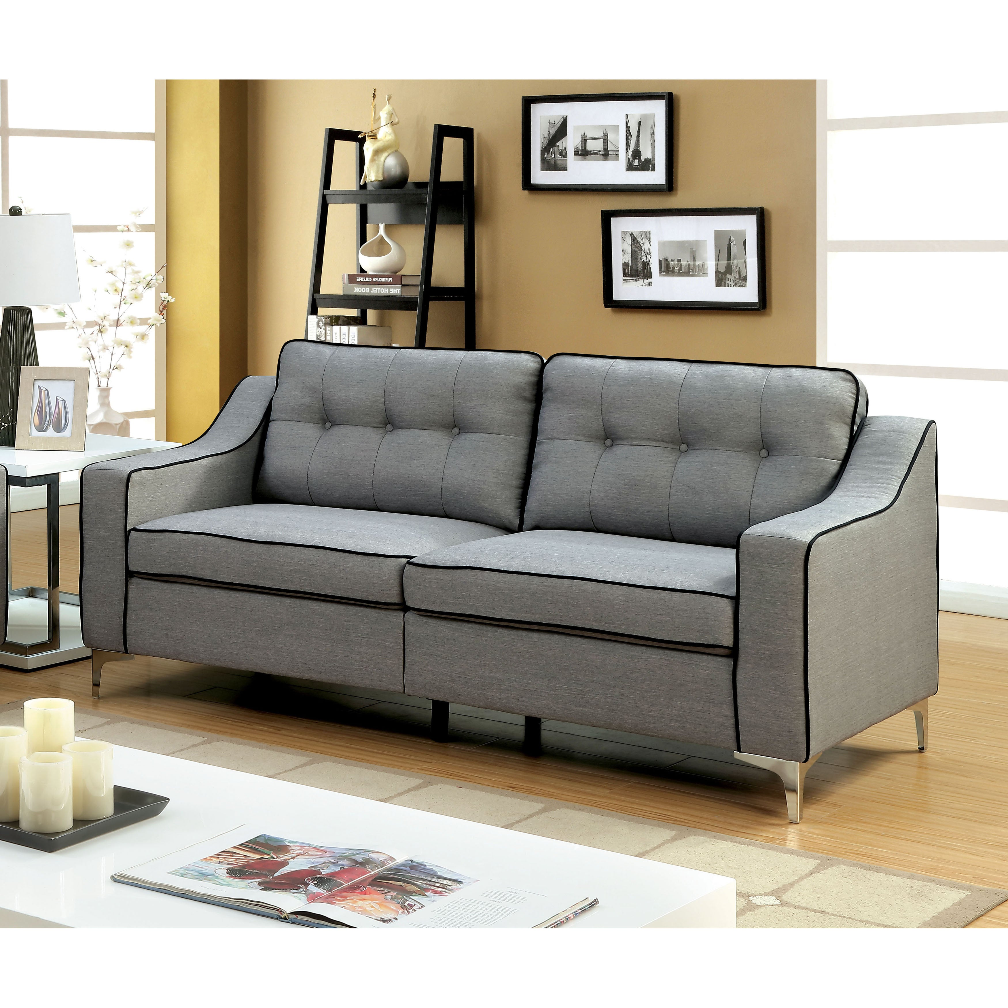Sylvanas Contemporary Tufted Linen Sofa By Furniture Of America Free Shipping Today 14124722