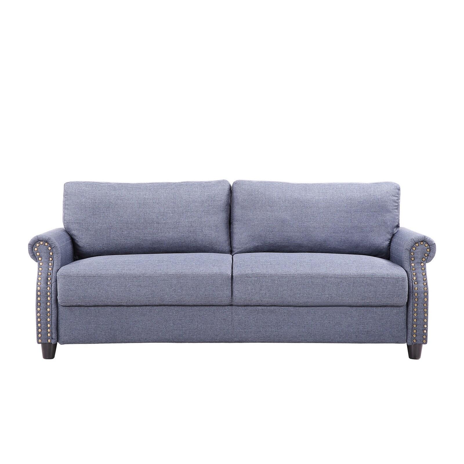 Living Room Linen Nailhead Storage Sofa - Free Shipping Today ...