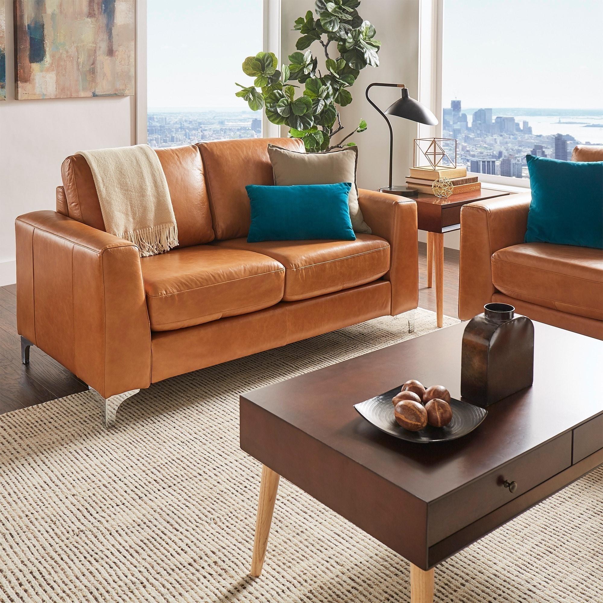 Shop Bastian Aniline Leather Sofa by iNSPIRE Q Modern - Free ...