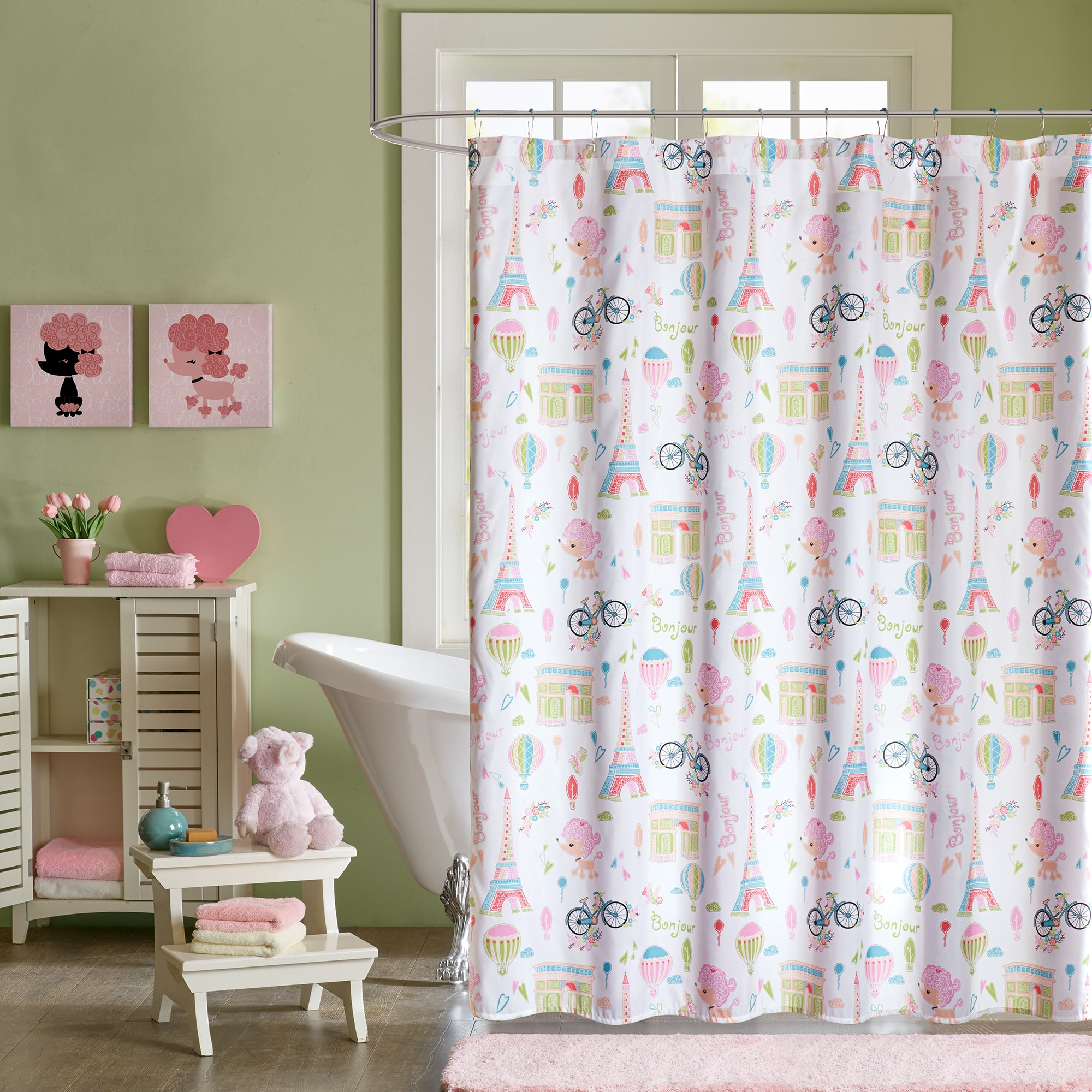 Mi Zone Kids Penelope the Poodle Pink Printed Shower Curtain - Free  Shipping On Orders Over $45 - Overstock.com - 20729943
