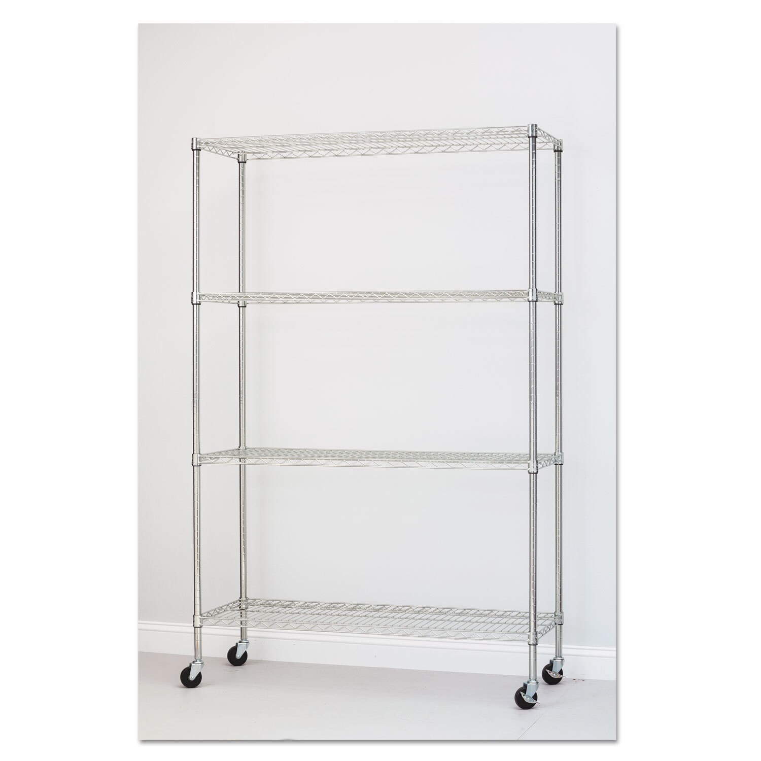 Alera Complete Wire Shelving Unit with Caster Four-Shelf 48 x 18 x ...
