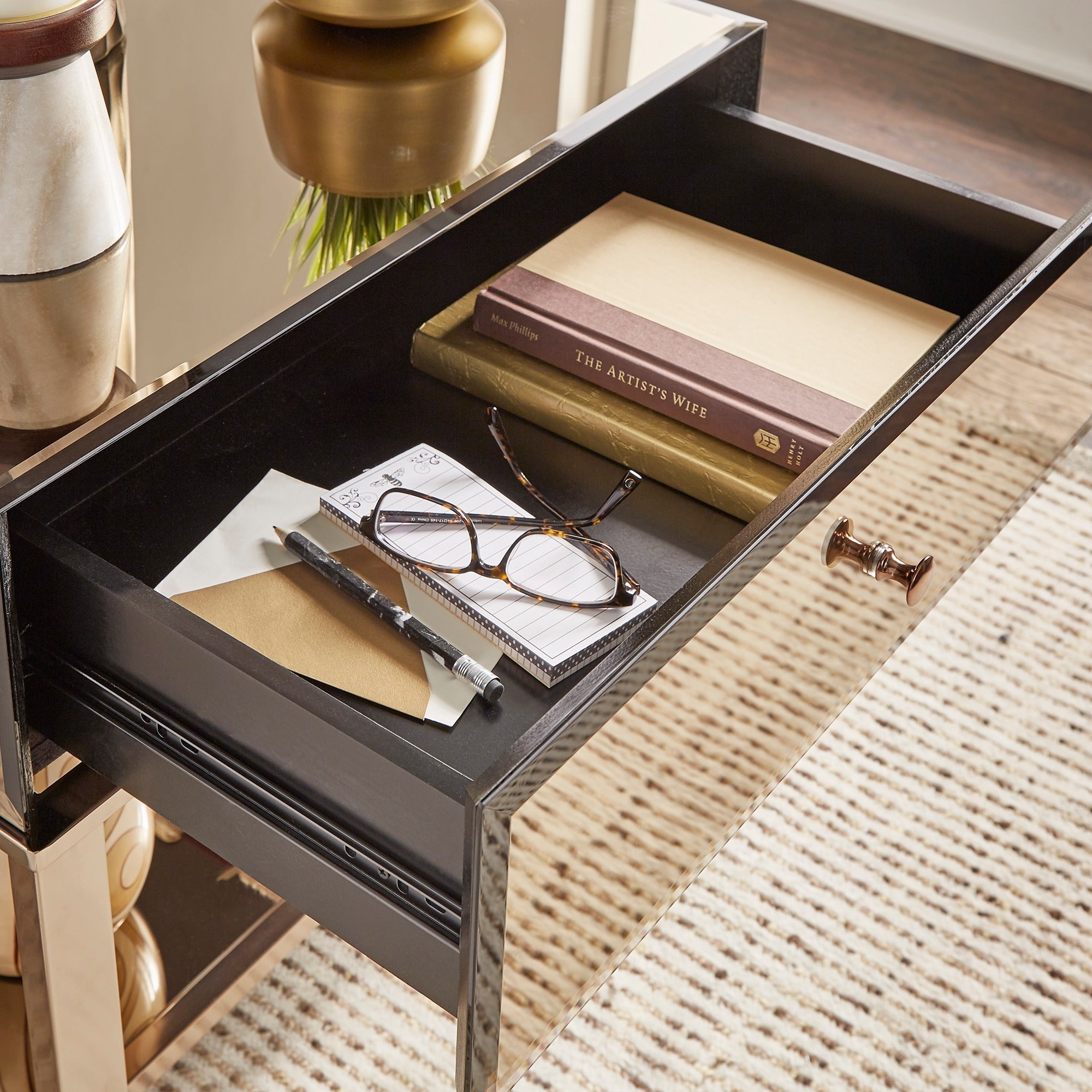 Akiko Mirrored 1 Drawer End Table by iNSPIRE Q Bold Free