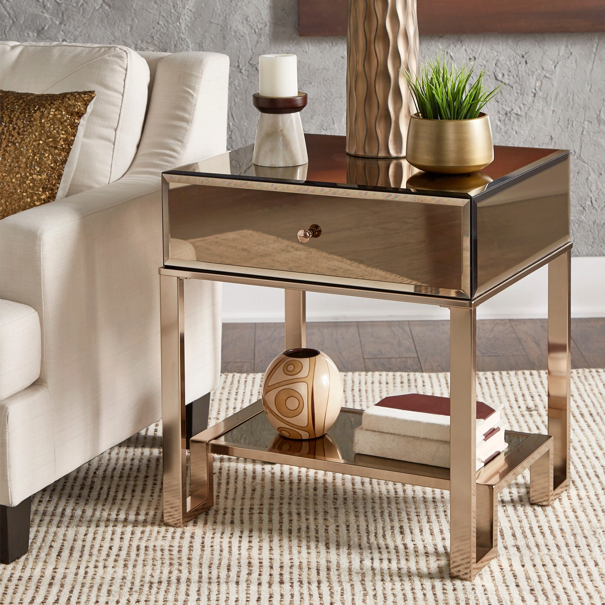 Akiko Mirrored 1-Drawer End Table by iNSPIRE Q Bold - Free Shipping Today -  Overstock.com - 20742203