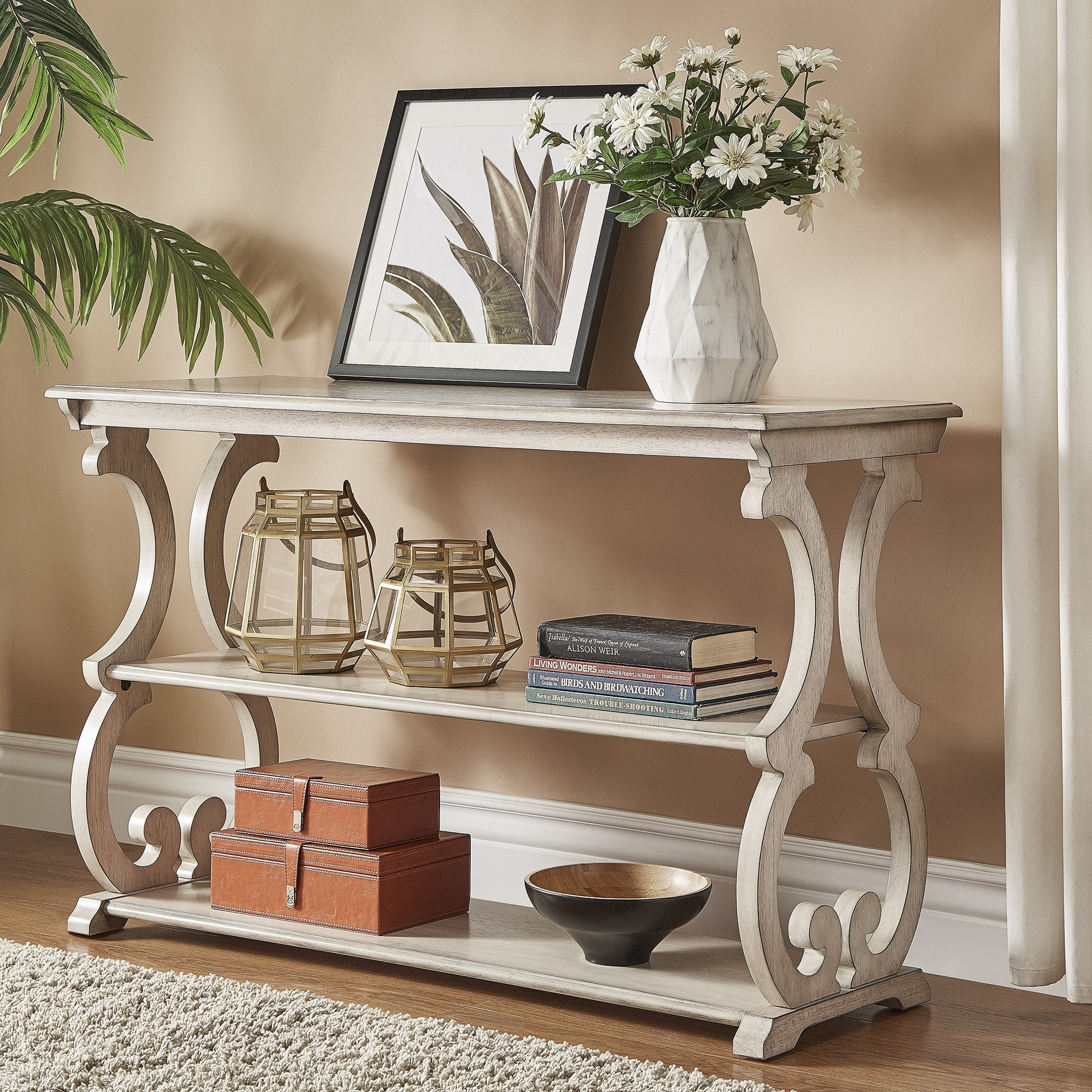 Lorraine Wood Scroll Tv Stand Sofa Table By Inspire Q Clic On Free Shipping Today 14139014