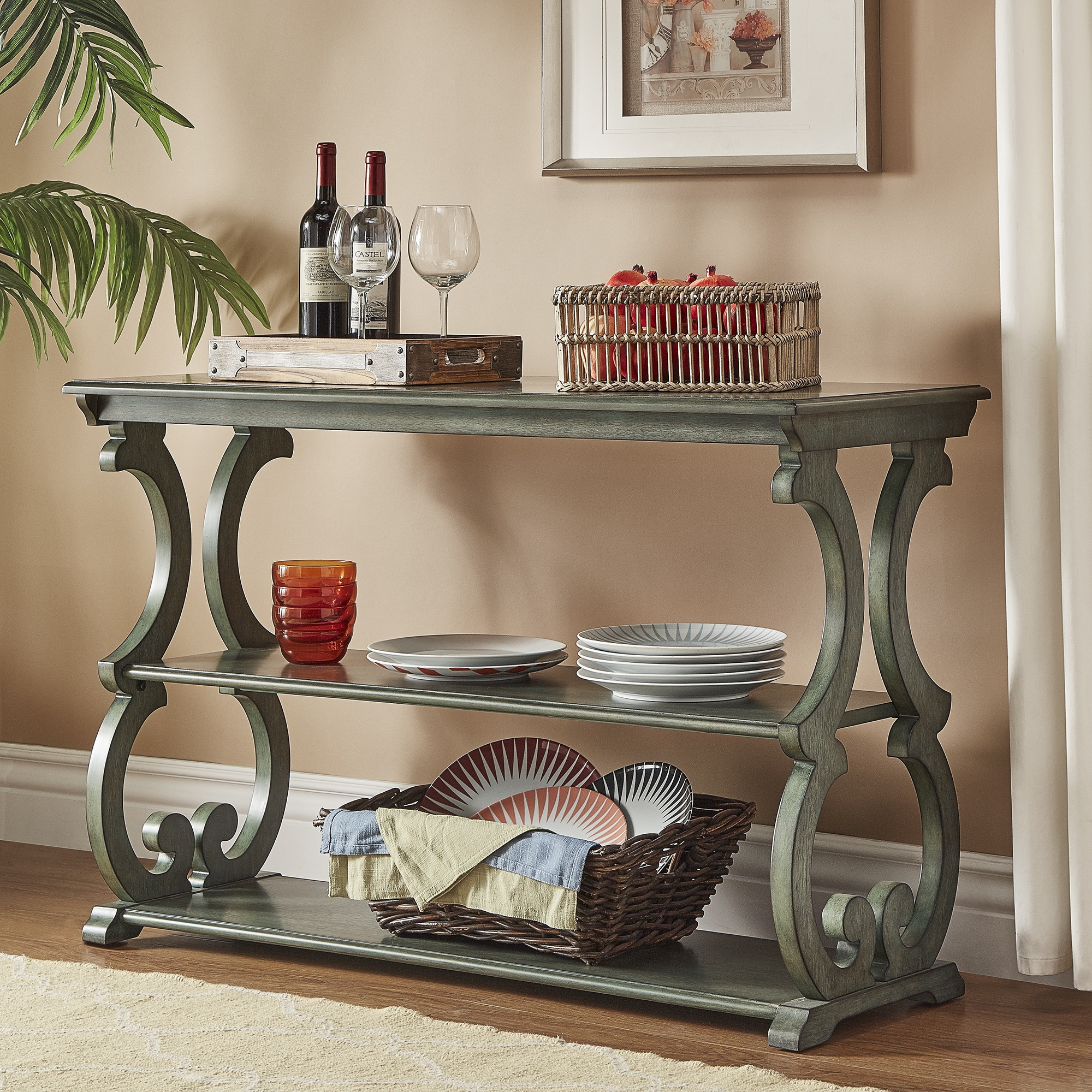 Lorraine Wood Scroll TV Stand Sofa Table by iNSPIRE Q Classic - Free  Shipping Today - Overstock.com - 20742204