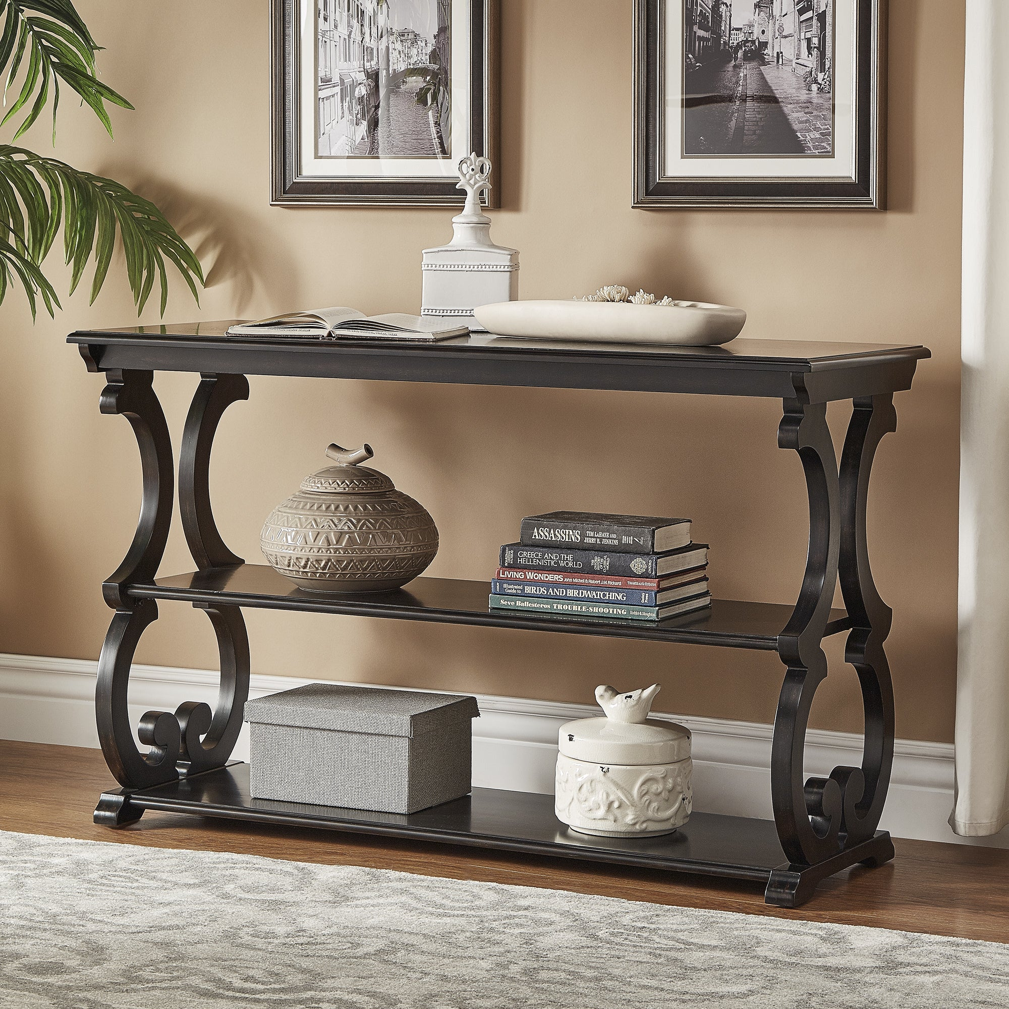 Shop Lorraine Wood Scroll TV Stand Sofa Table By INSPIRE Q Classic   On  Sale   Free Shipping Today   Overstock.com   14139014