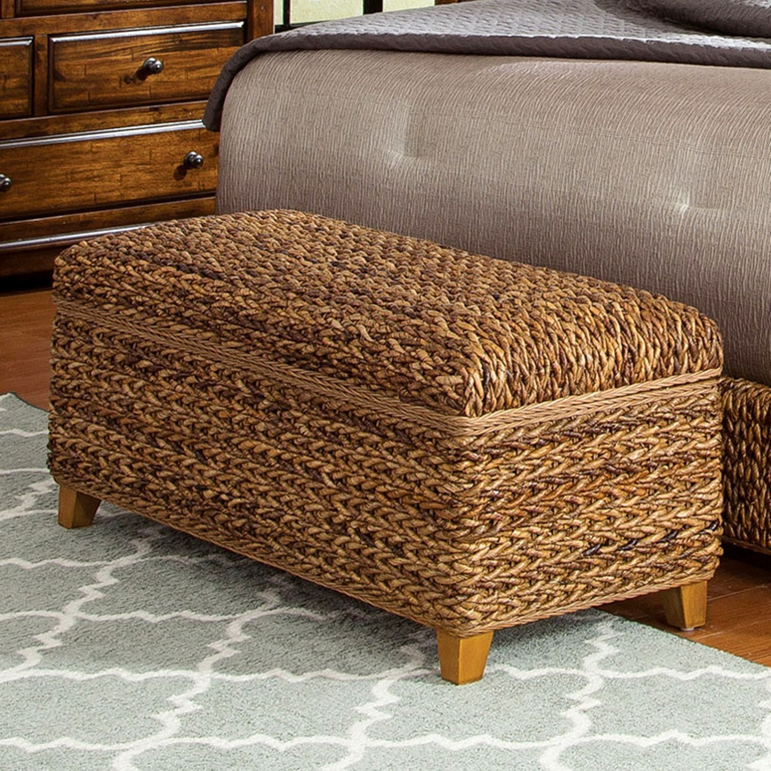 Modern Country Style Hand Woven Banana Leaf Bed With Storage Ottoman   Free  Shipping Today   Overstock   20742689