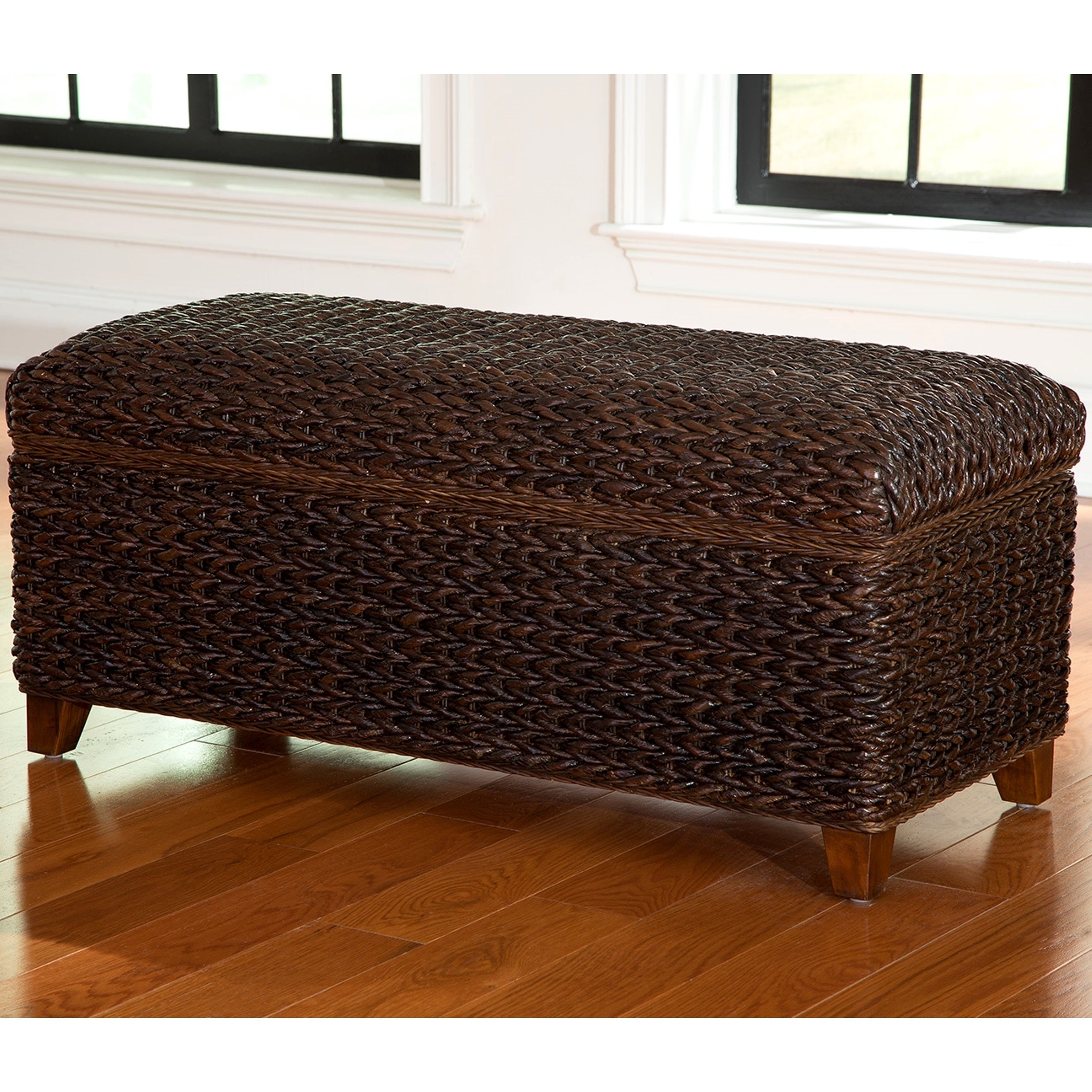Modern Country Style Hand Woven Dark Brown Banana Leaf Bed
