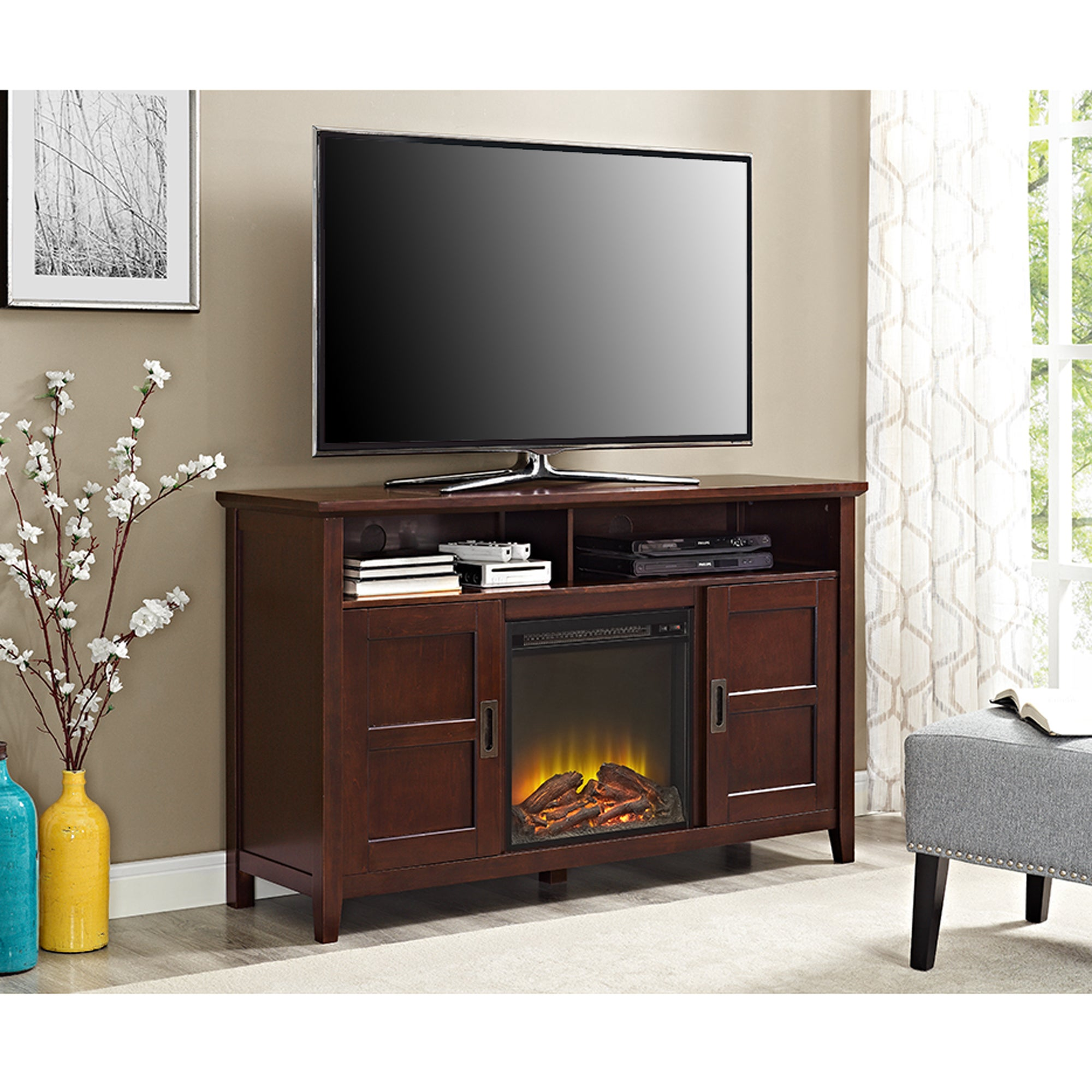 Chic tv stands Metal Rustic Chic Fireplace Tv Stand Coffee Overstock Shop Rustic Chic Fireplace Tv Stand Coffee Free Shipping Today