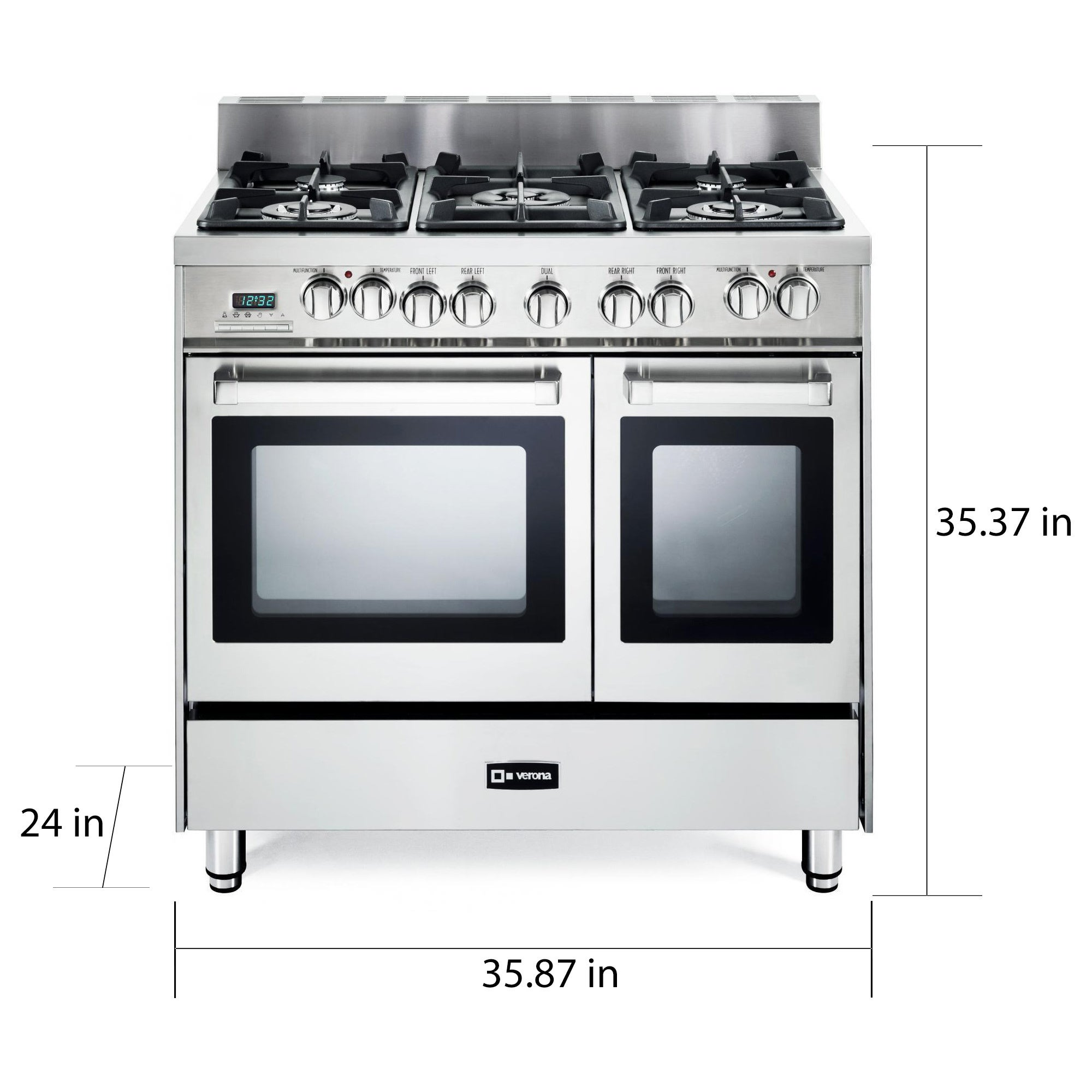 Verona 36 Inch Pro Style Dual Fuel Double Oven Range Free Shipping Today 14139620