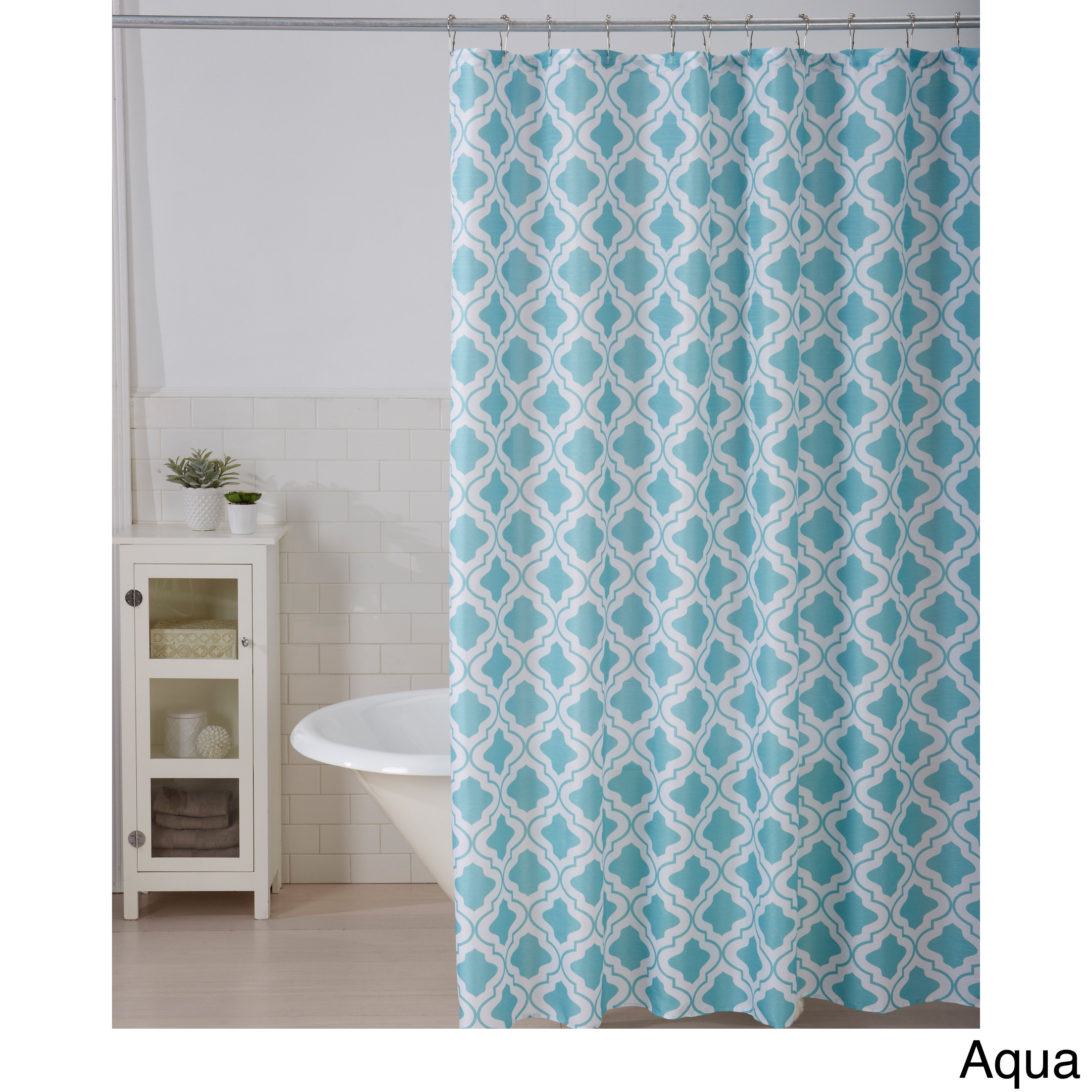Leila Collection Printed Shower Curtain With Roller Hooks  Free