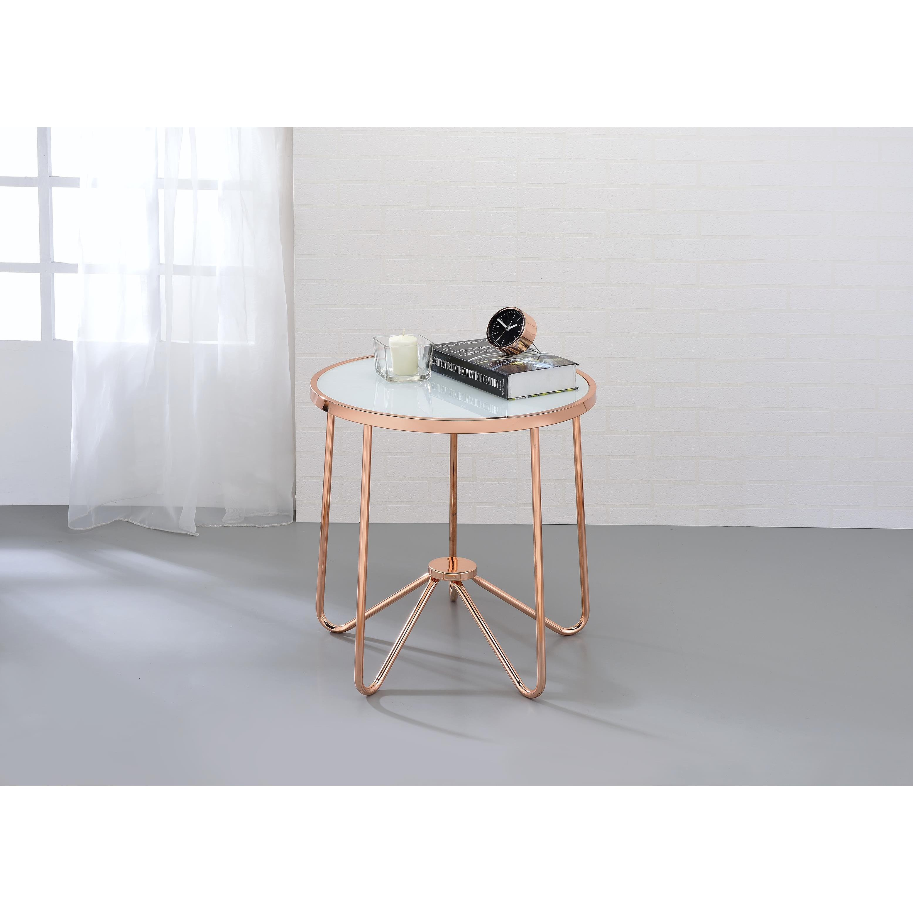 Shop acme furniture alivia rose gold metal and frosted glass coffee table free shipping today overstock com 14139691