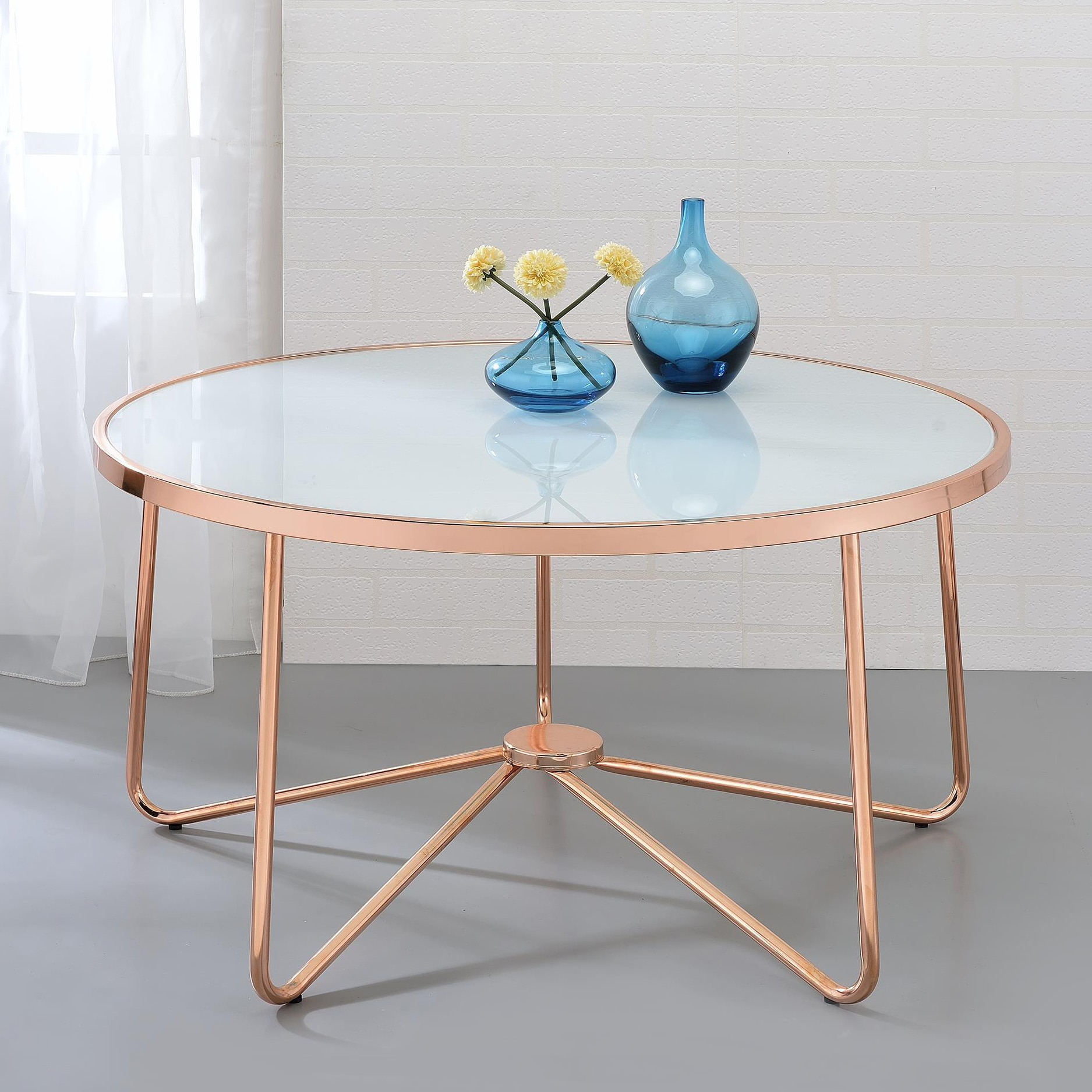 Exceptionnel Acme Furniture Alivia Rose Gold Metal And Frosted Glass Coffee Table