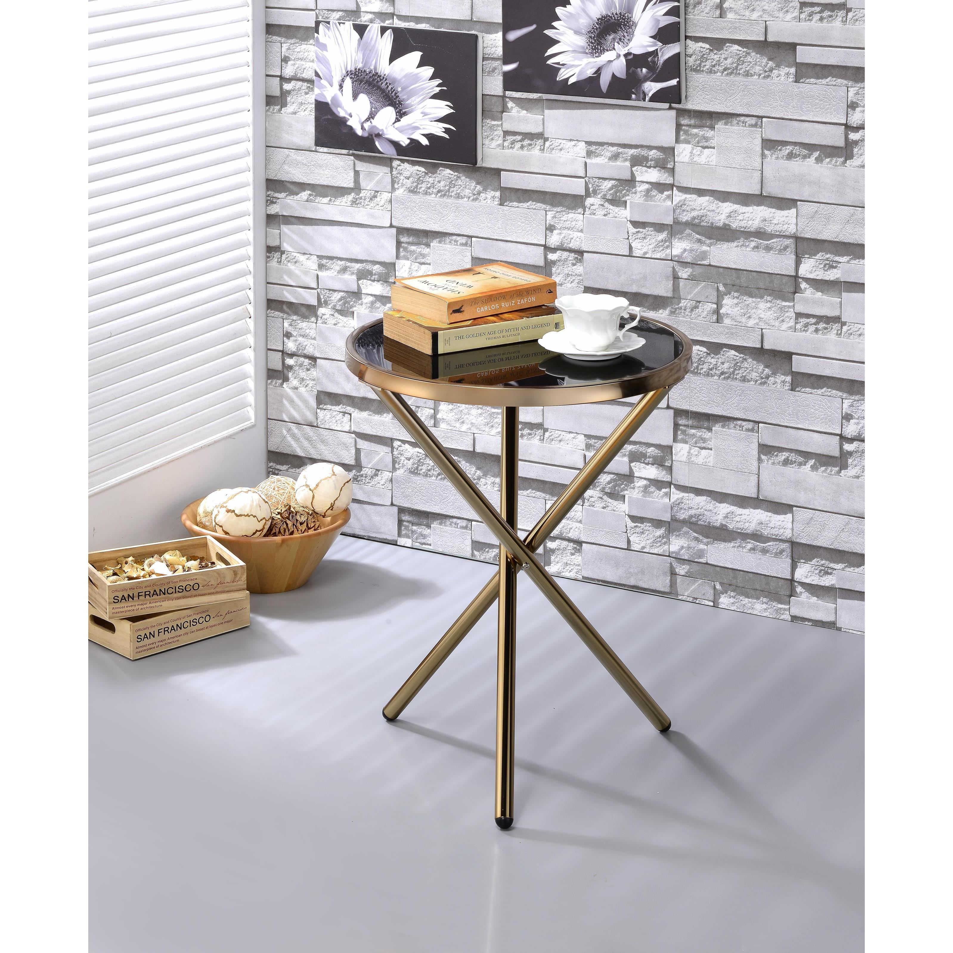 Shop ACME Lajita Metal And Glass Contemporary Side Table   Free Shipping  Today   Overstock.com   14139700