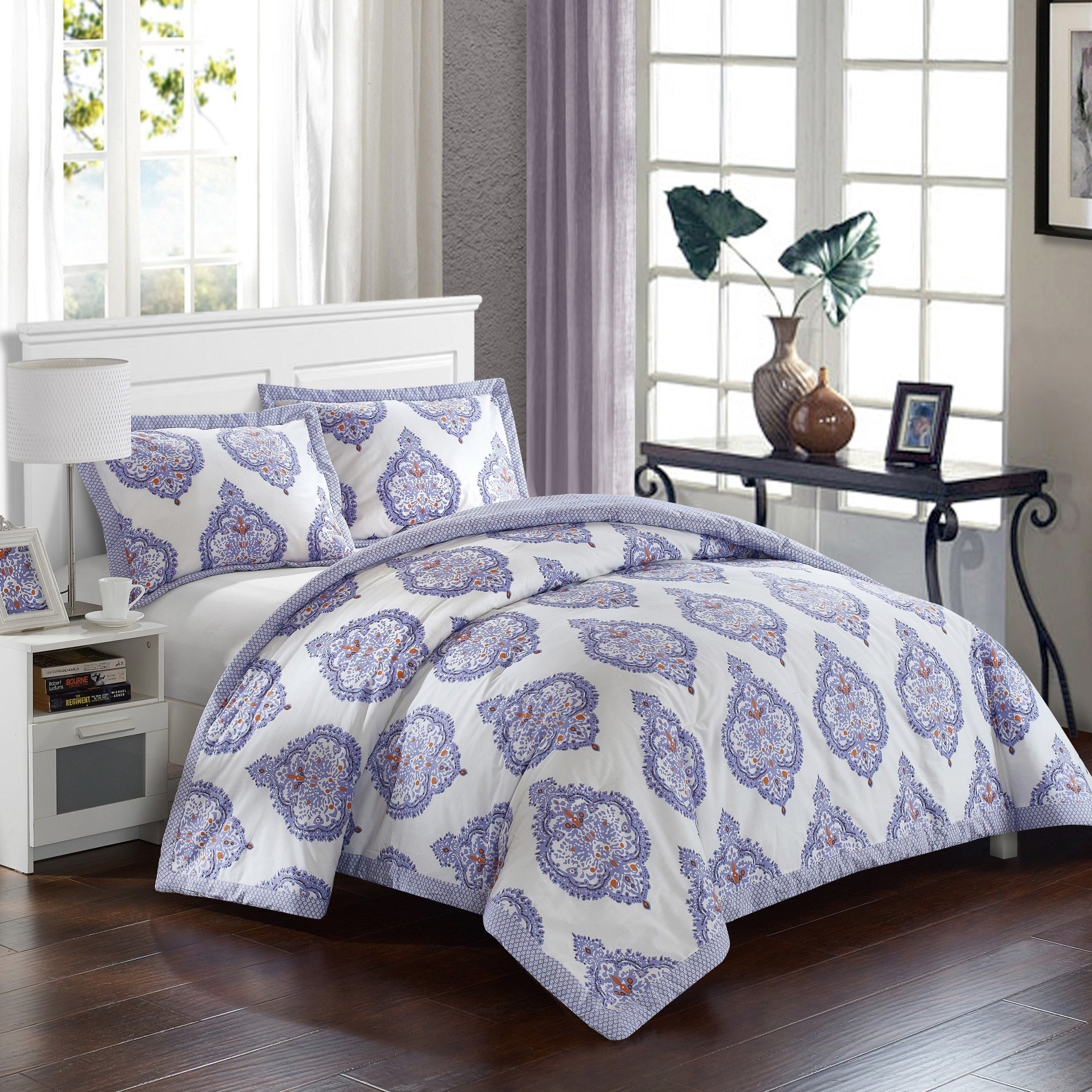 Shop lux bed cotton 3 piece bergen palace lavender duvet cover set on sale free shipping today overstock com 14140170