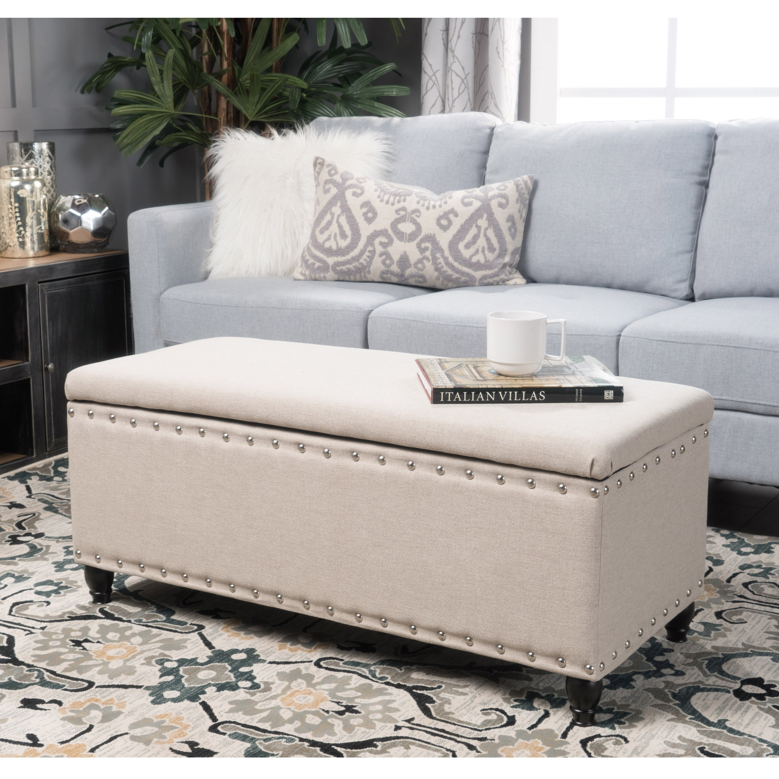 Great Tatiana Studded Fabric Storage Ottoman Bench By Christopher Knight Home    Free Shipping Today   Overstock.com   20744638