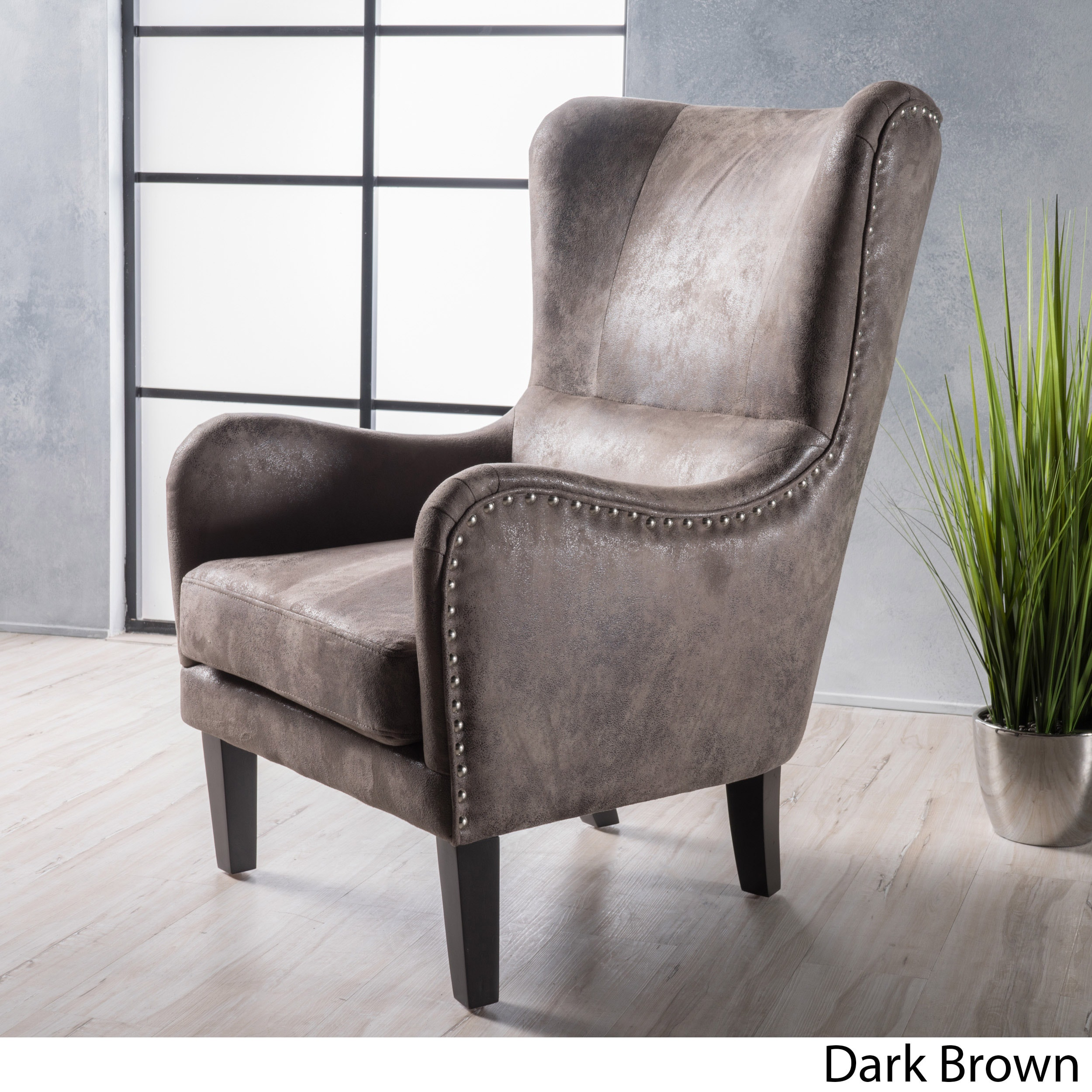 Lorenzo High Back Studded Fabric Club Chair By Christopher Knight Home On Free Shipping Today 14142279