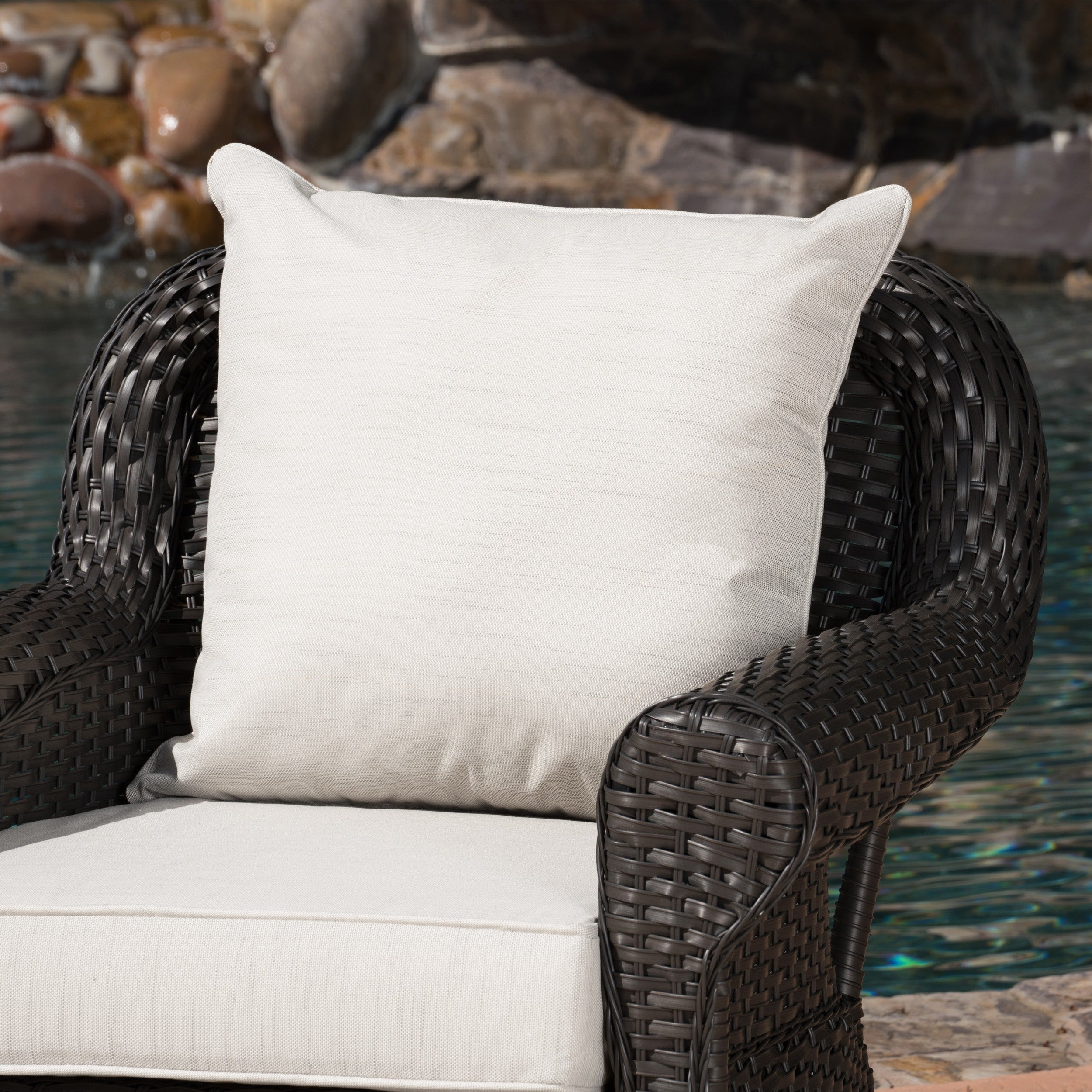 Amaya Outdoor Wicker Swivel Rocking Chair with Cushion (Set of 2 ...