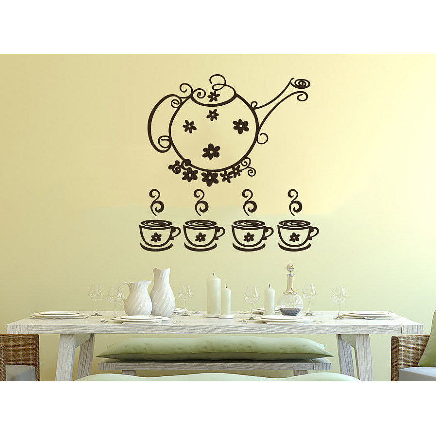 Shop Tea Kettle Cup Dishes Vinyl Sticker Decals Tea Cup for Kitchen ...