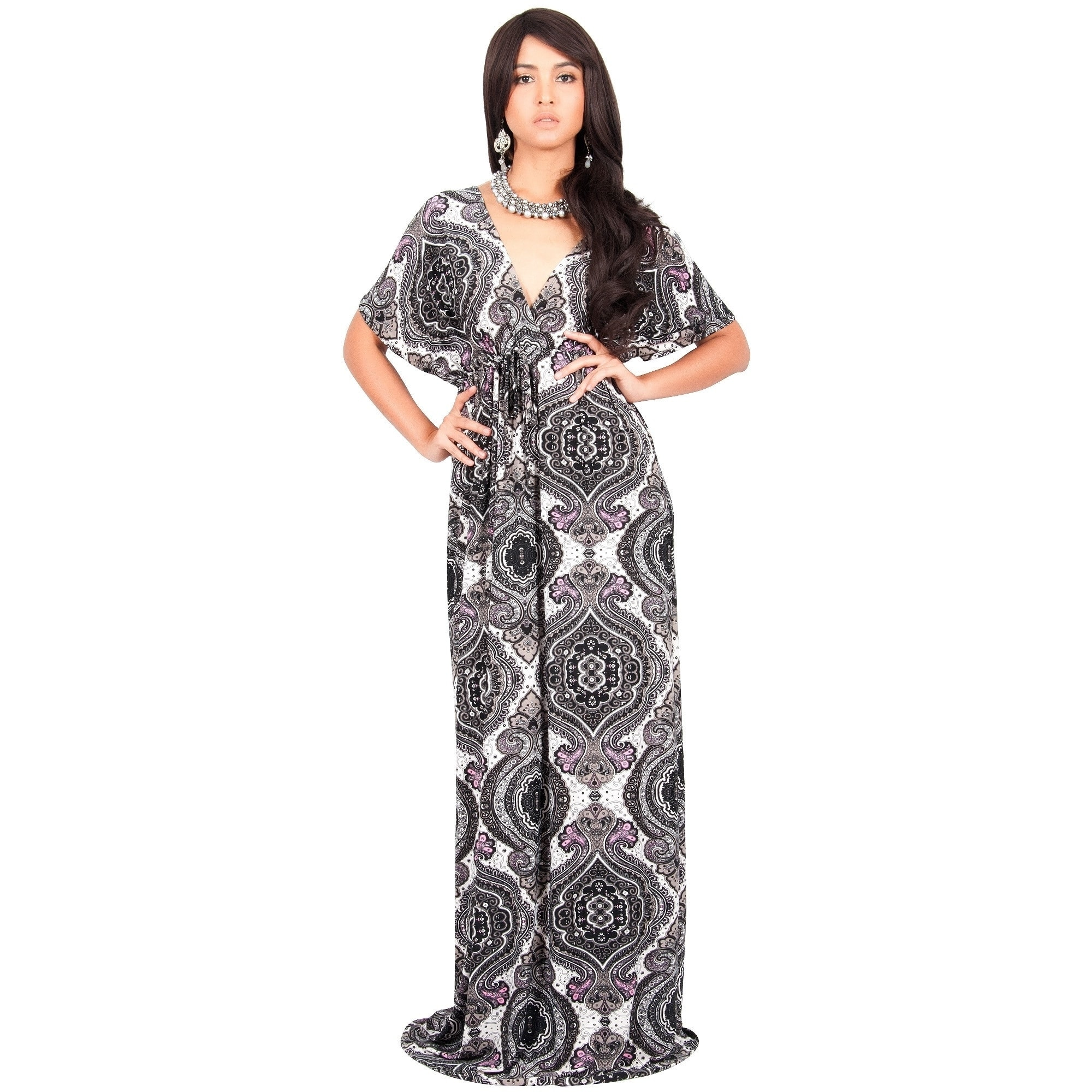 Shop KOH KOH Long Casual Summer Kimono Sleeve Floral Print Maxi Dress Gown  - Free Shipping Today - Overstock - 14153439 55a4073f9