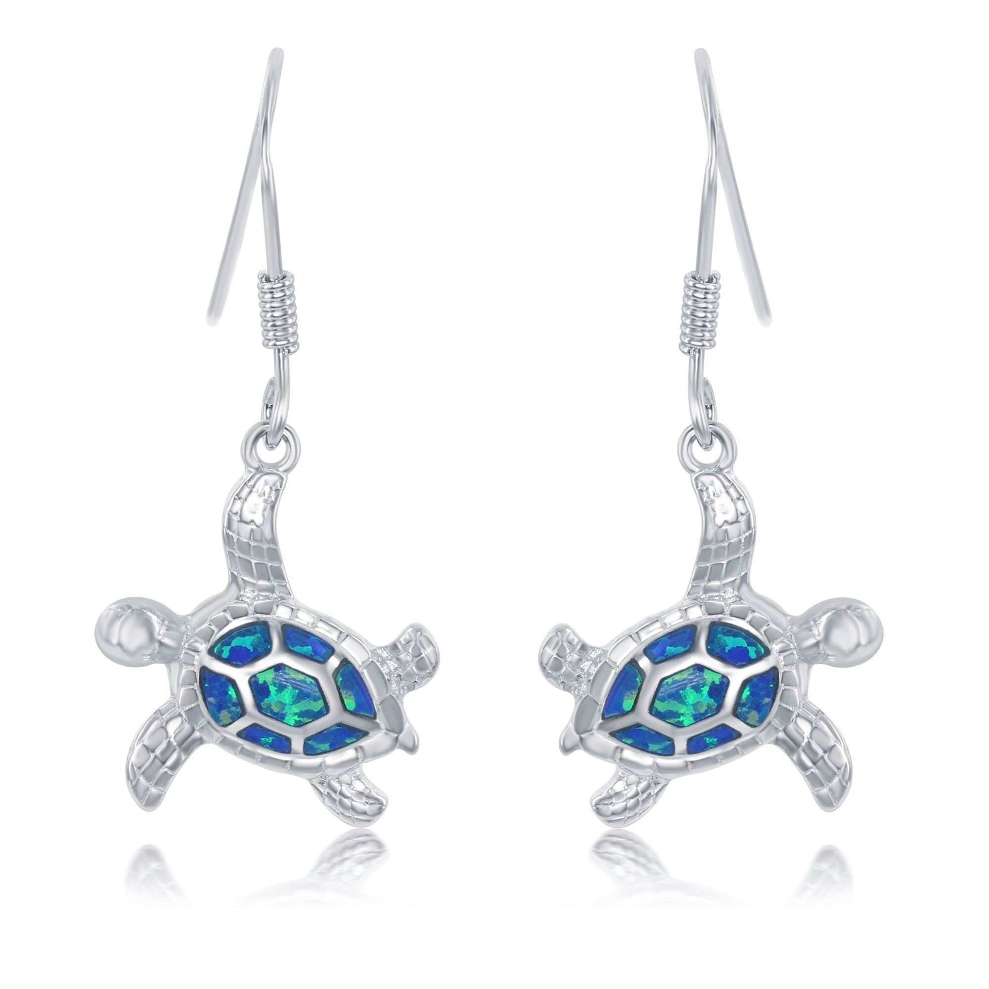 La Preciosa Sterling Silver Created Blue Opal Sea Turtle Earrings On Free Shipping Orders Over 45 14153524