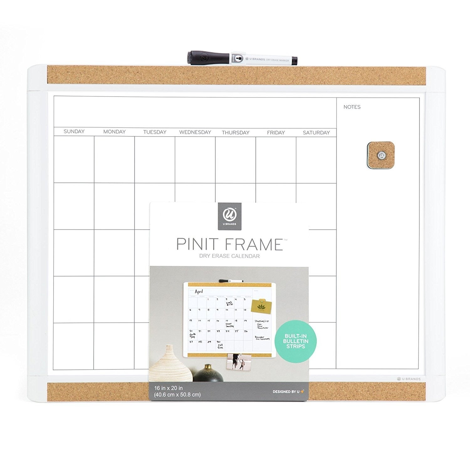 U Brands Pin-It White Frame 20 x 16-inch Magnetic Dry Erase Calendar ...