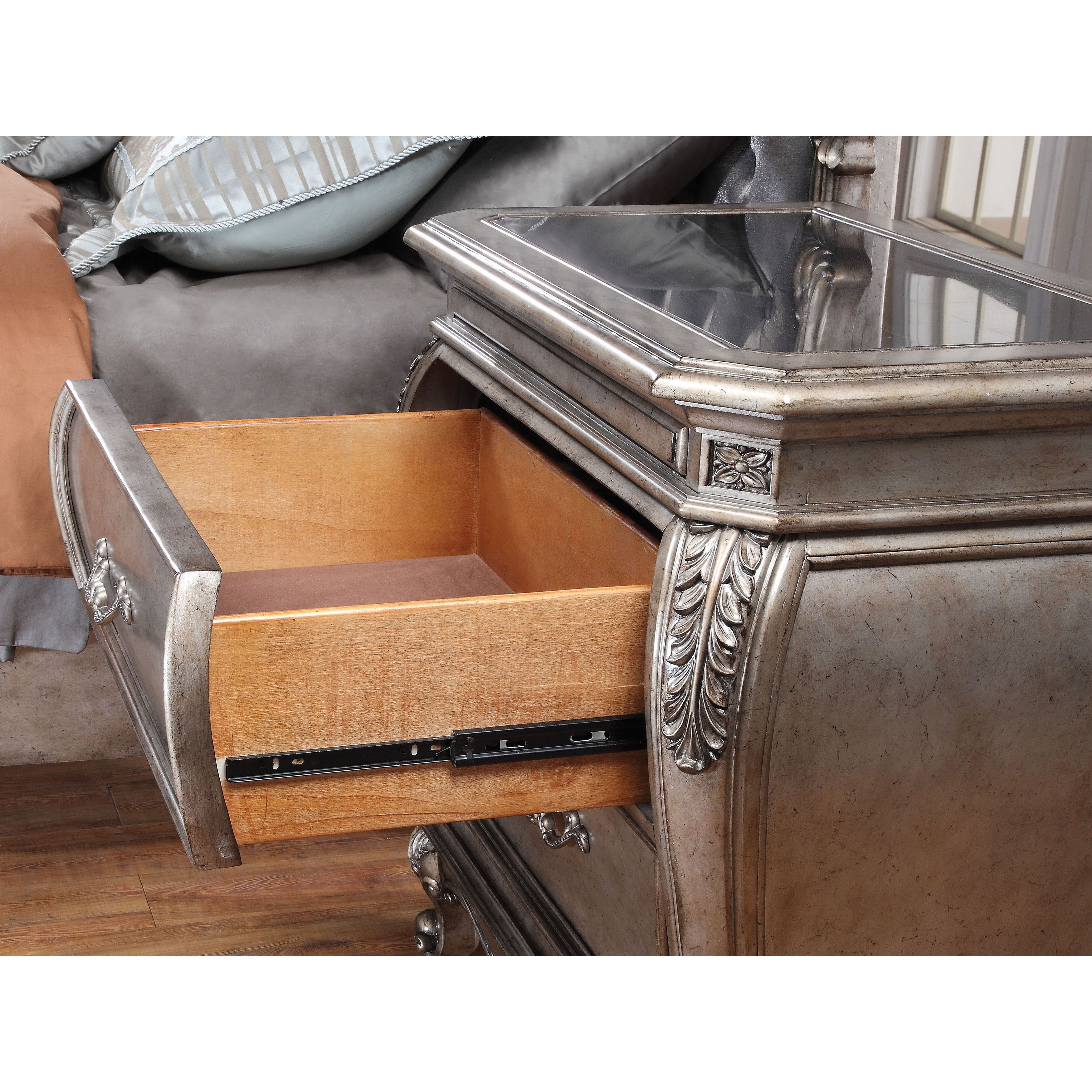 Shop Acme Furniture Chantelle 4 Piece Bedroom Set, Antique Platinum With  Silver Gray Silk Like Fabric   Free Shipping Today   Overstock.com    14154151