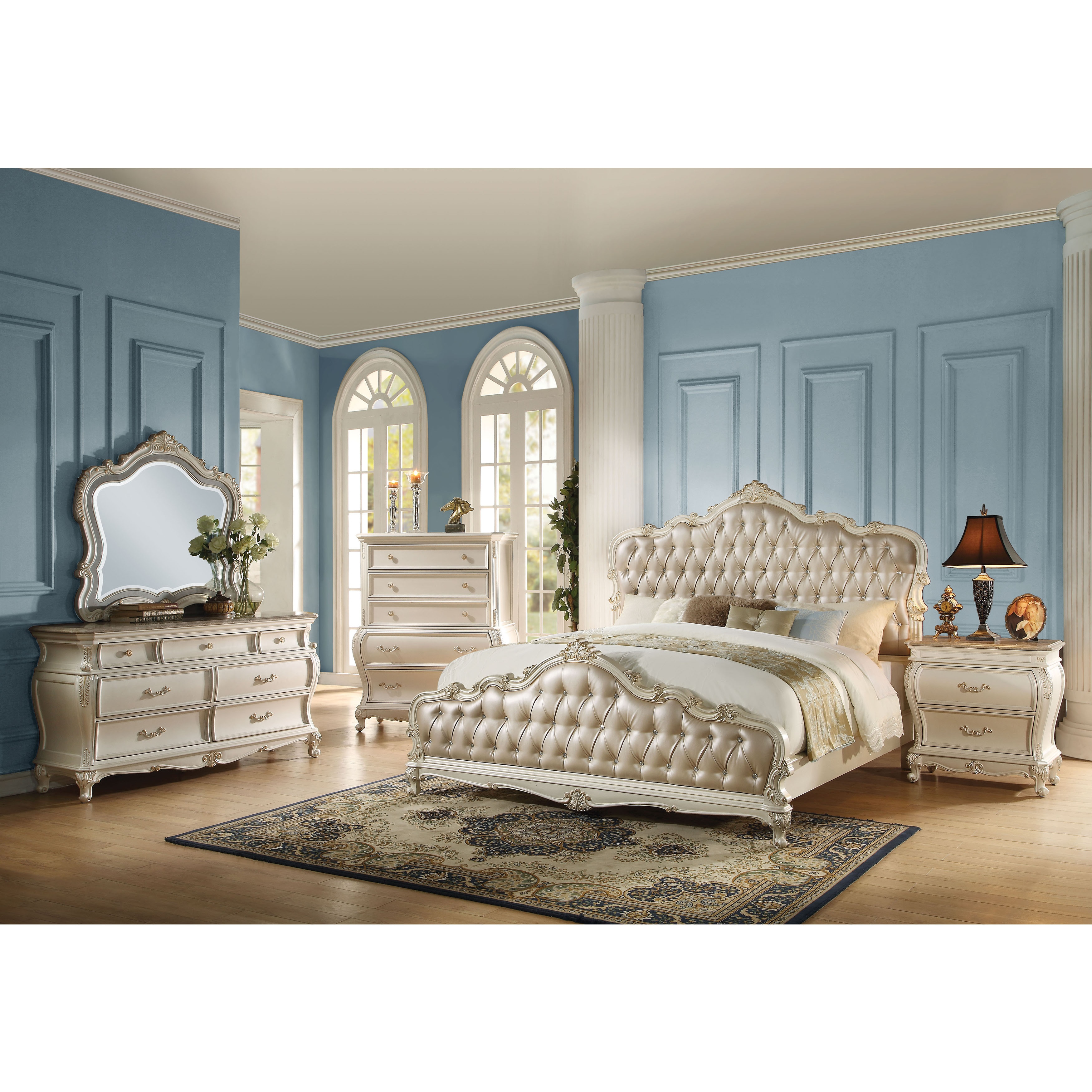 Acme Furniture Chantelle 4 Piece Bedroom Set, Rose Gold PU Leather With  Pearl White Finish   Free Shipping Today   Overstock   20756105