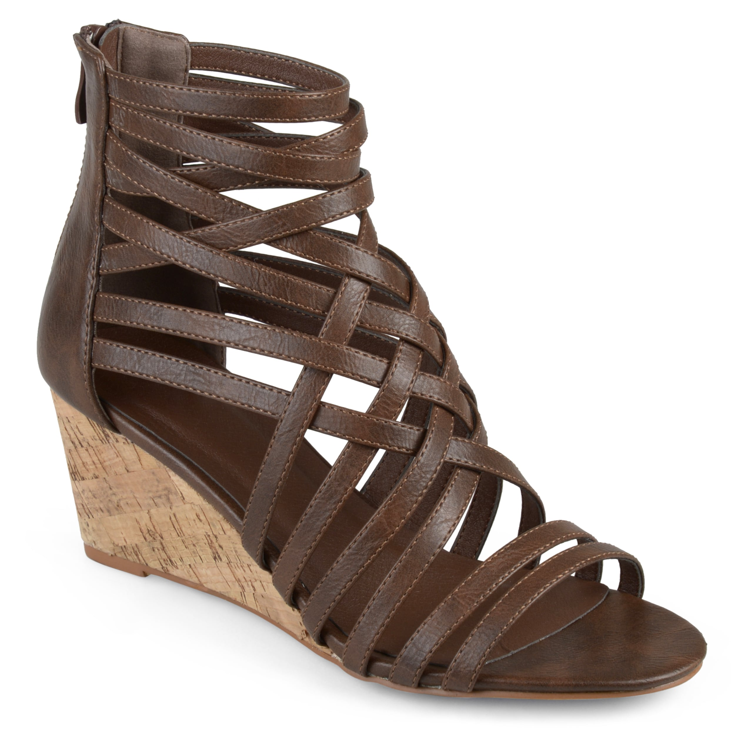 3b079be2737 Shop Journee Collection Women s  Twyla  Strappy Faux Leather Wedges ...
