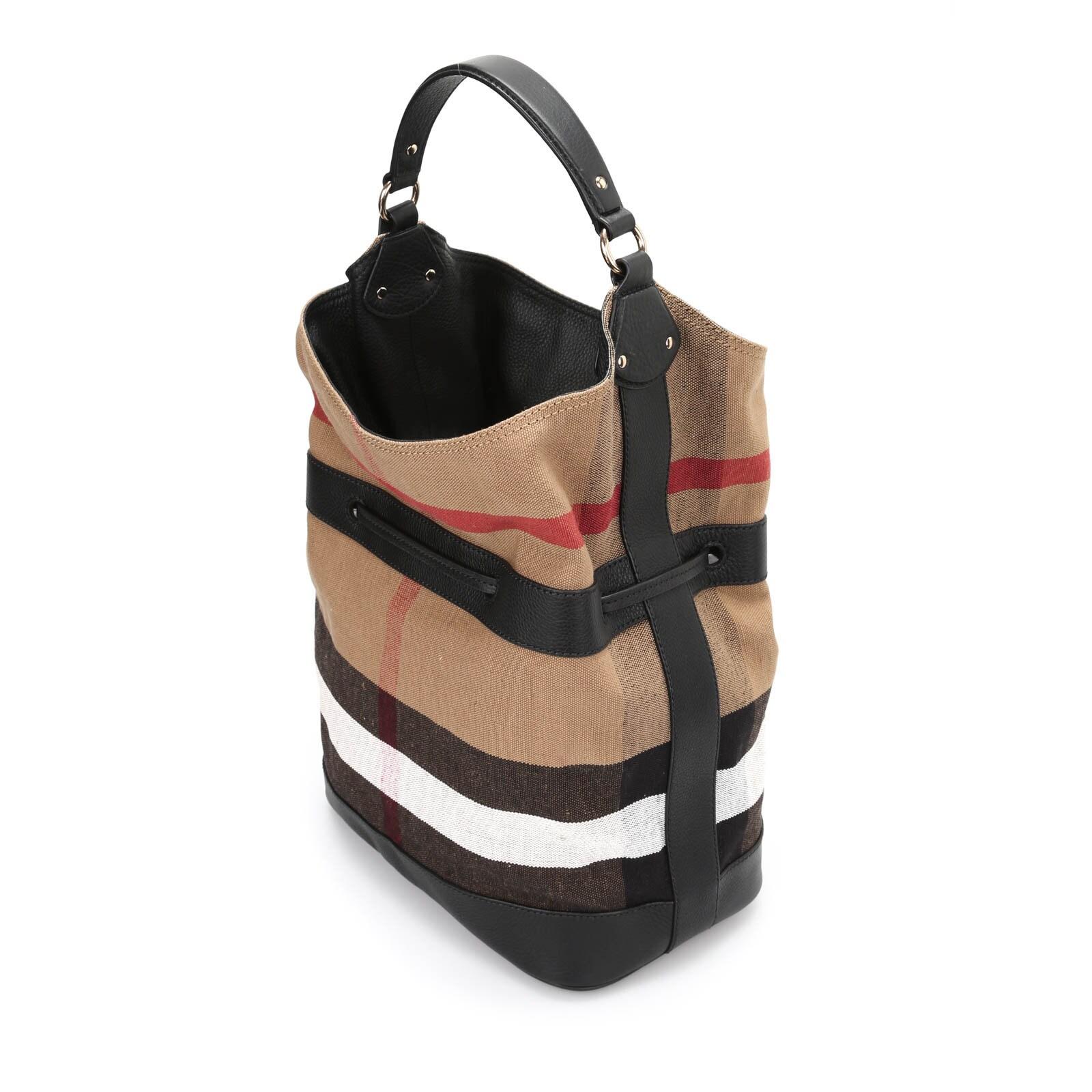 bb8ea9afce Shop Burberry Susanna Beige Check Bucket Bag - Ships To Canada - Overstock  - 14155106