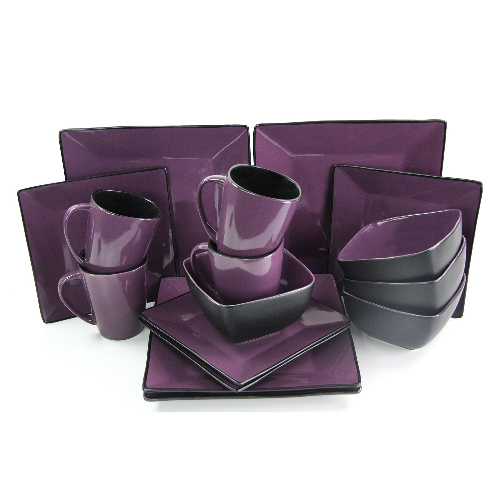 Elama Mulberry Loft 16 Piece Modern Premium Stoneware Dinnerware Set with Complete Settings for 4 - Free Shipping Today - Overstock - 20756955  sc 1 st  Overstock & Elama Mulberry Loft 16 Piece Modern Premium Stoneware Dinnerware Set ...