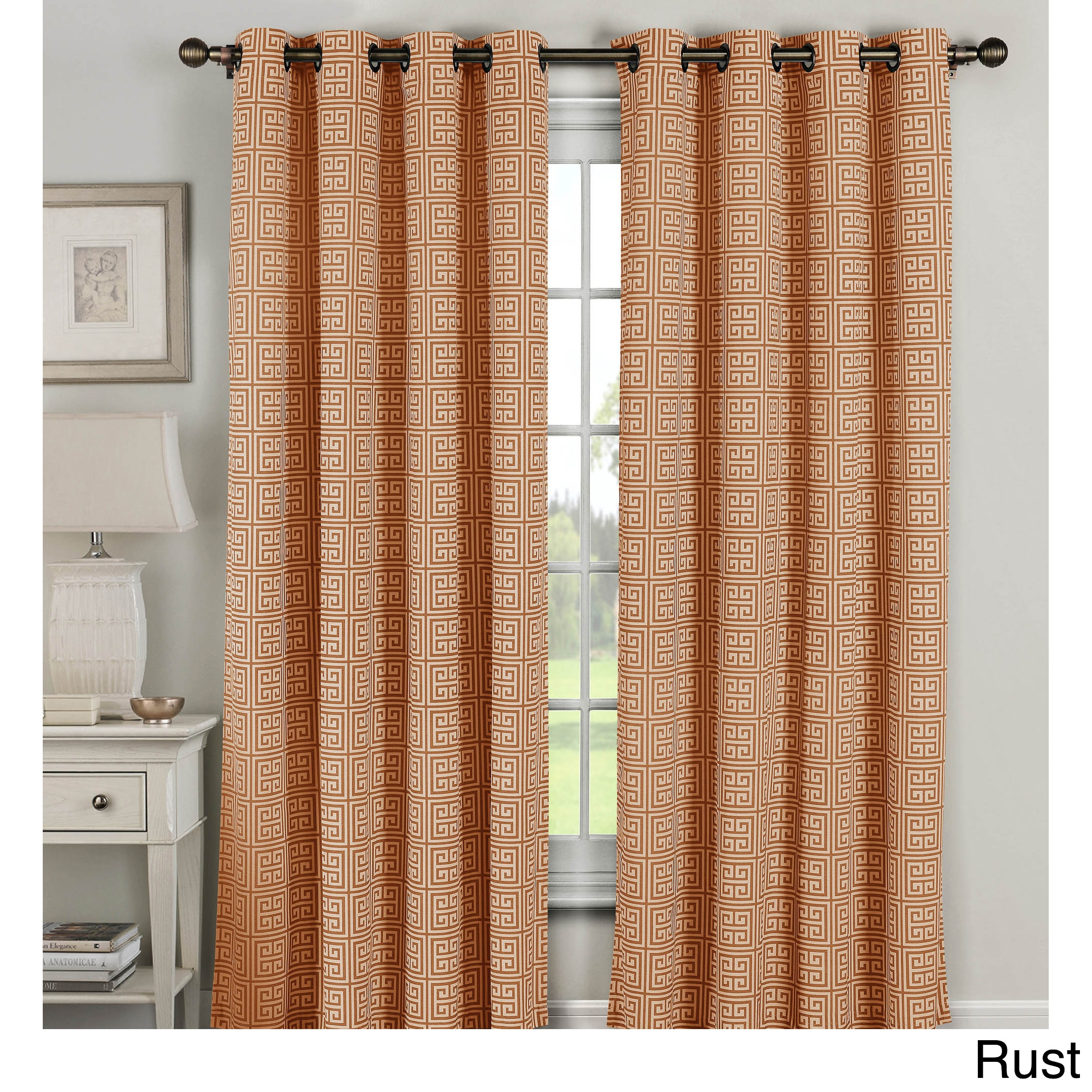 Window Elements Greek Key 96 Inch Extra Wide Grommet Curtain Panel Pair 54 X Free Shipping Today 14155805
