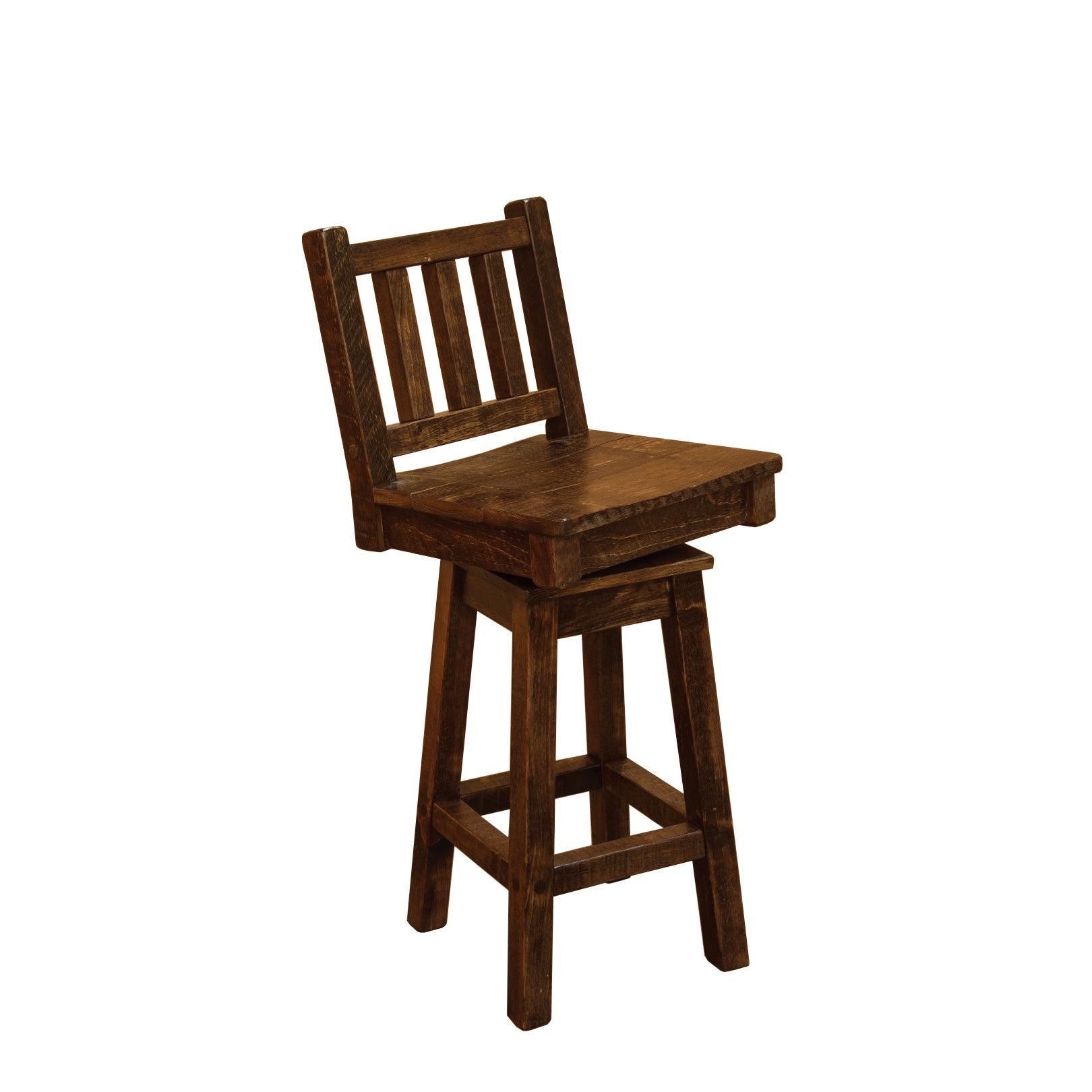 Barn Wood Style Timber Peg Swivel Bar Stool With Back 24 Or 36 Inch Free Shipping Today 14158670