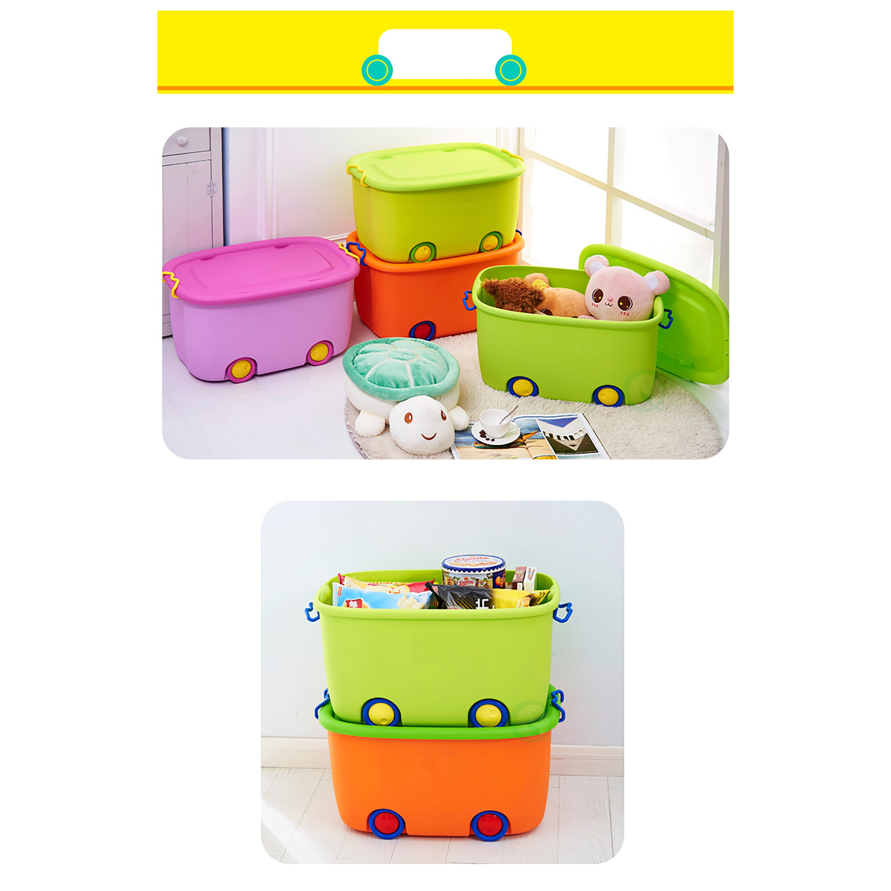 Ordinaire Shop Stackable Toy Storage Box With Wheels   Free Shipping Today    Overstock.com   14160391