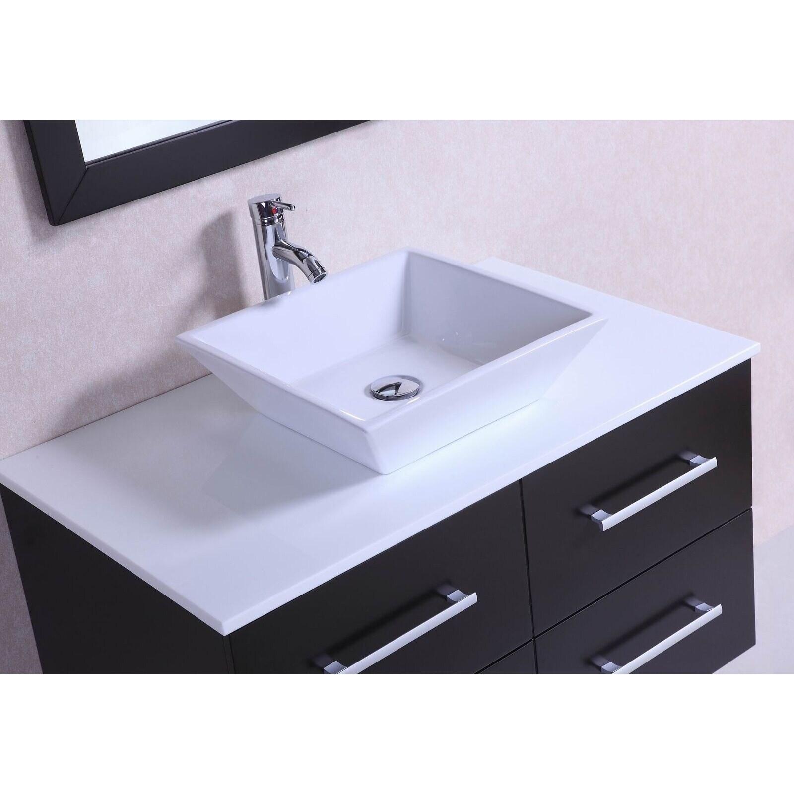 36-inch Belvedere Modern Wall Mounted Espresso Bathroom Vanity ...