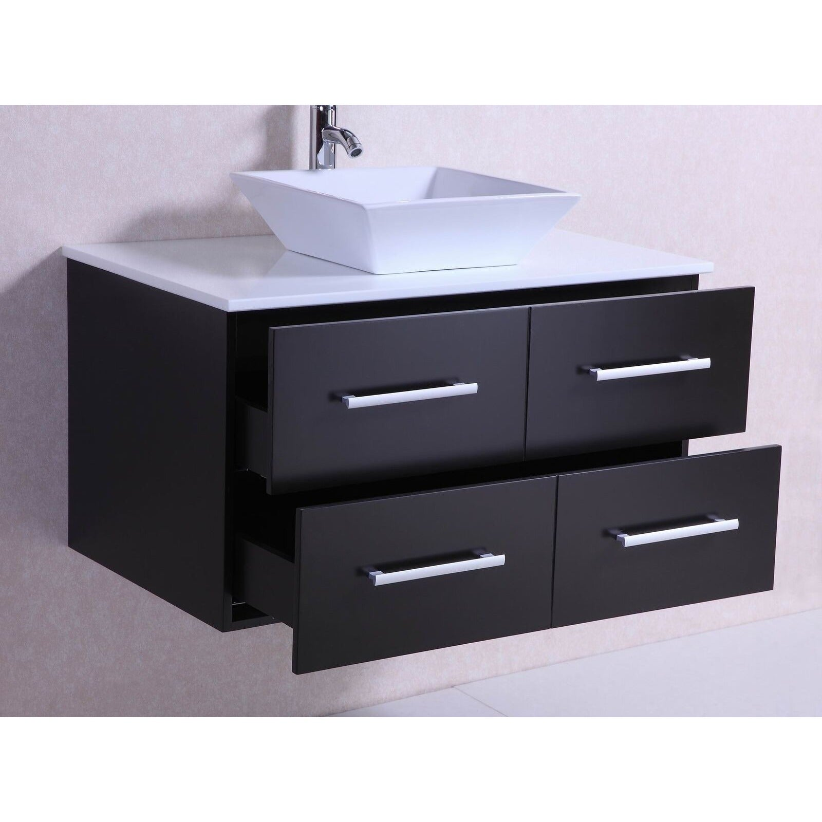 Shop 36-inch Belvedere Modern Wall Mounted Espresso Bathroom Vanity ...