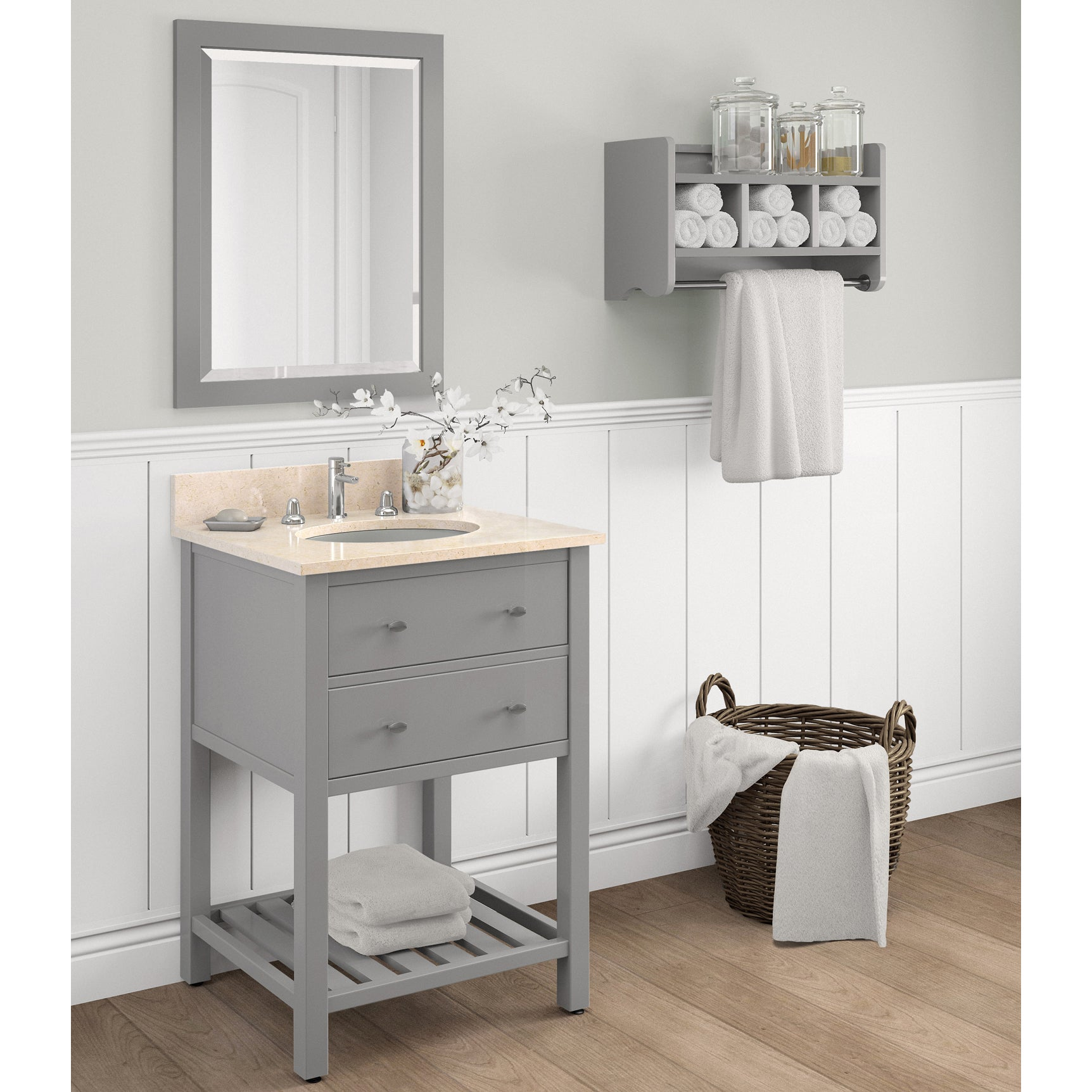 Shop Harrison Marble Sink Grey 24 In Bathroom Vanity With Storage Shelf And  Mirror Set   Free Shipping Today   Overstock.com   14161867