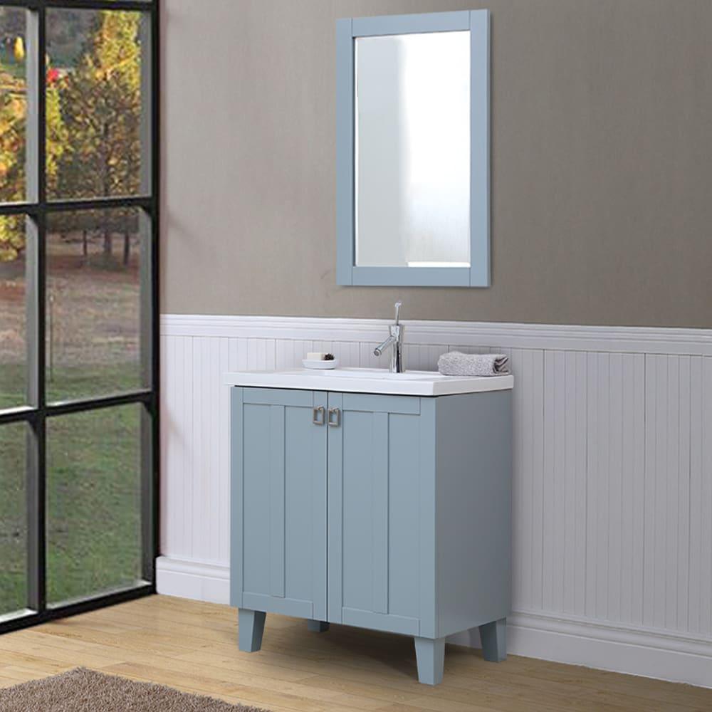 Shop Bathroom Vanity and Framed Wall Mirror Set in Grey Blue Finish ...